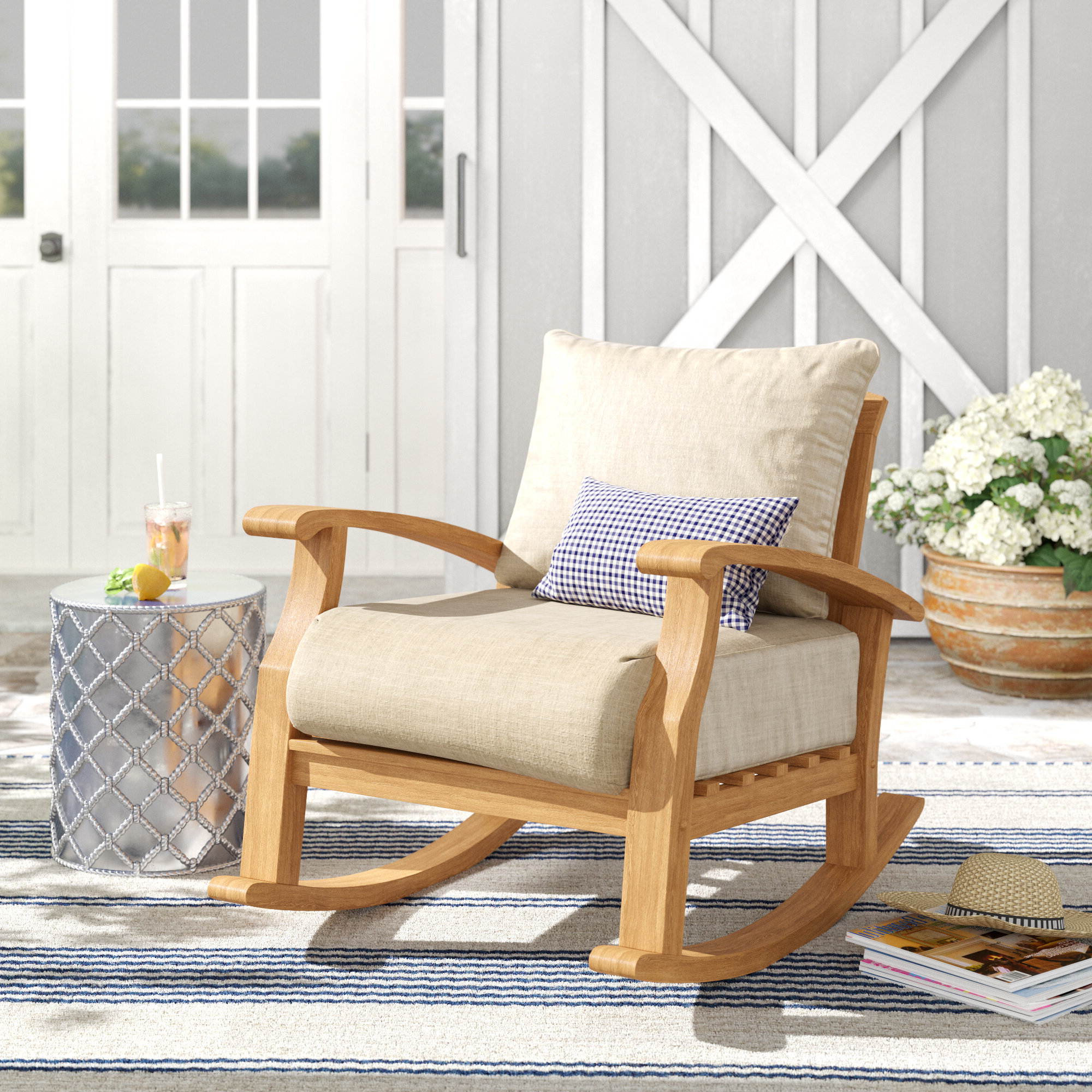Preferred Summerton Teak Loveseats With Cushions With Summerton Teak Rocking Chair With Cushions (View 11 of 20)