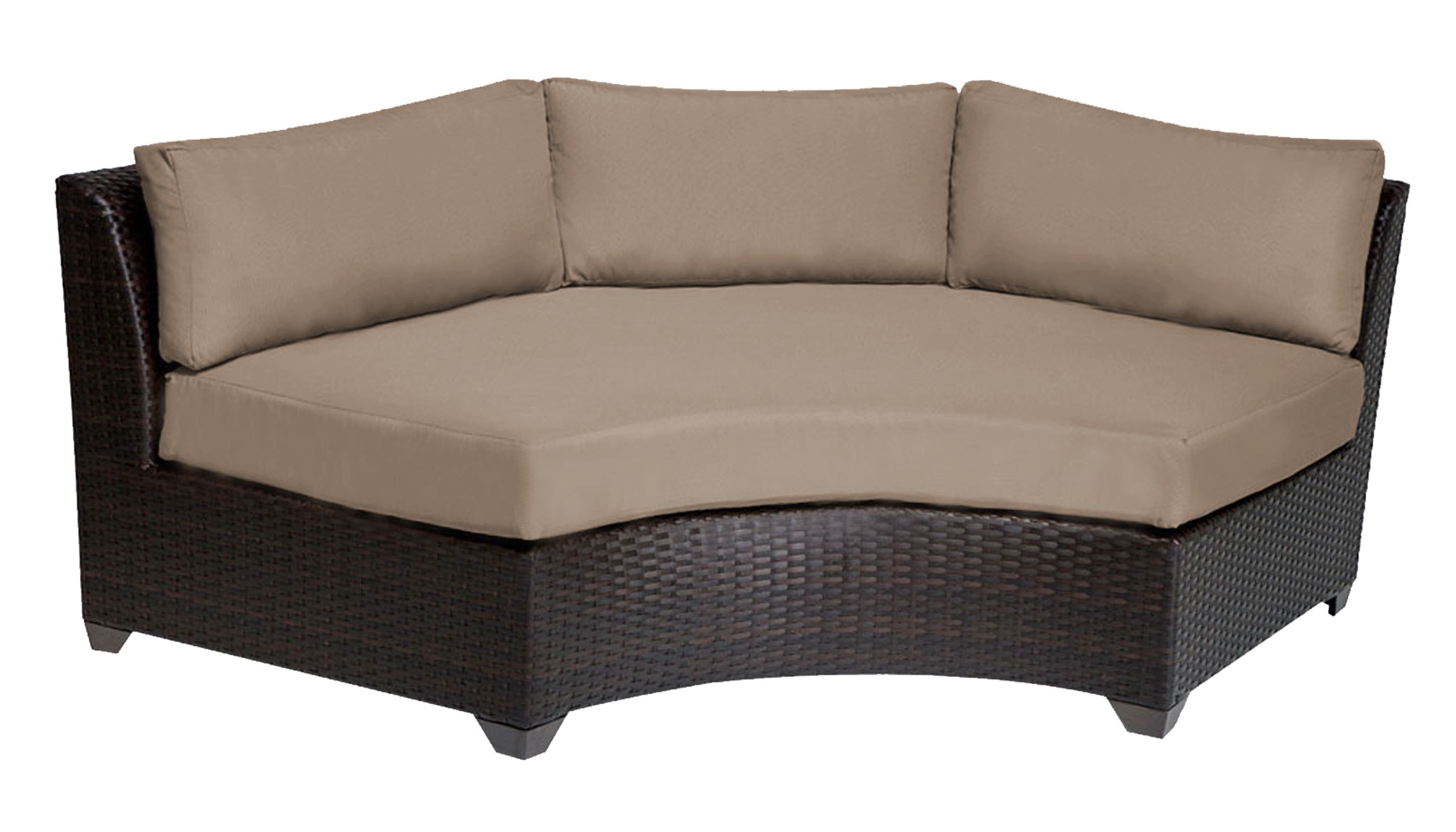 Preferred Waterbury Curved Armless Sofa With Cushions Within Camak Patio Sofa With Cushions (View 14 of 20)