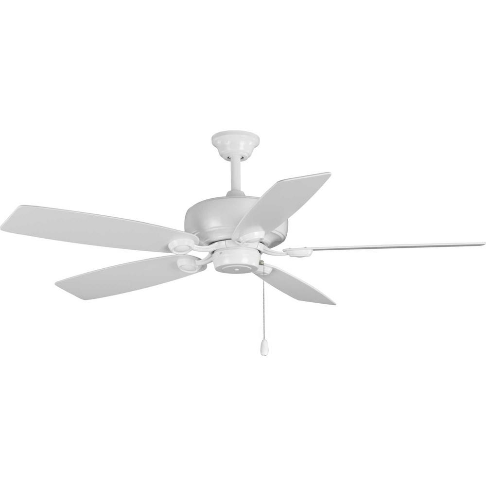 Progress Lighting Edgefield 52 In. 5 Blade White Ceiling Fan Intended For Fashionable Mesa 5 Blade Ceiling Fans (Gallery 18 of 20)