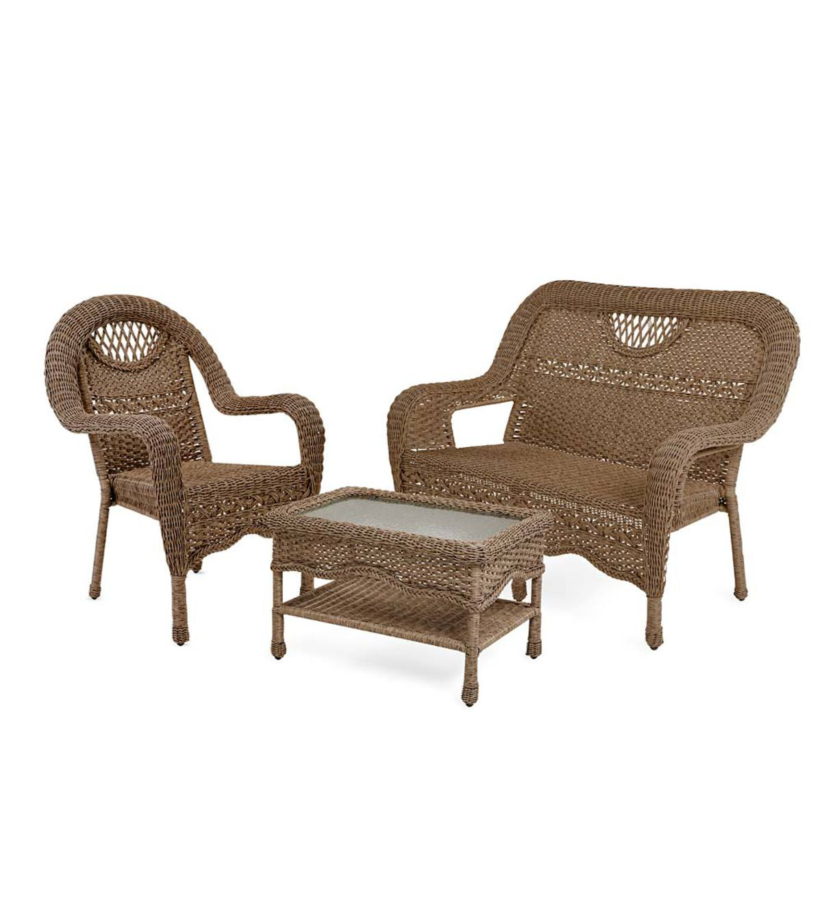 Prospect Hill Wicker Settee Benches For Well Known Prospect Hill Wicker Settee, Chair And Coffee Table Set (View 13 of 20)