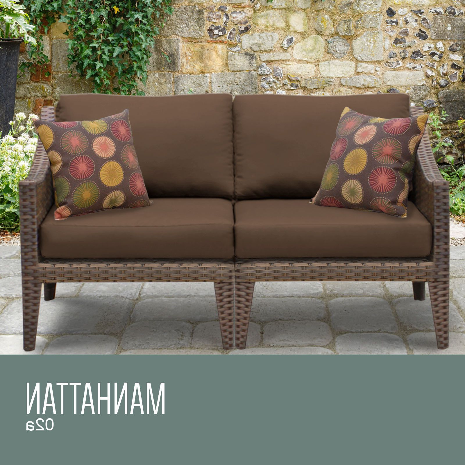 Provencher Patio Loveseats With Cushions Pertaining To Widely Used Manhattan 2 Piece Outdoor Wicker Patio Furniture Set 02a (View 19 of 20)