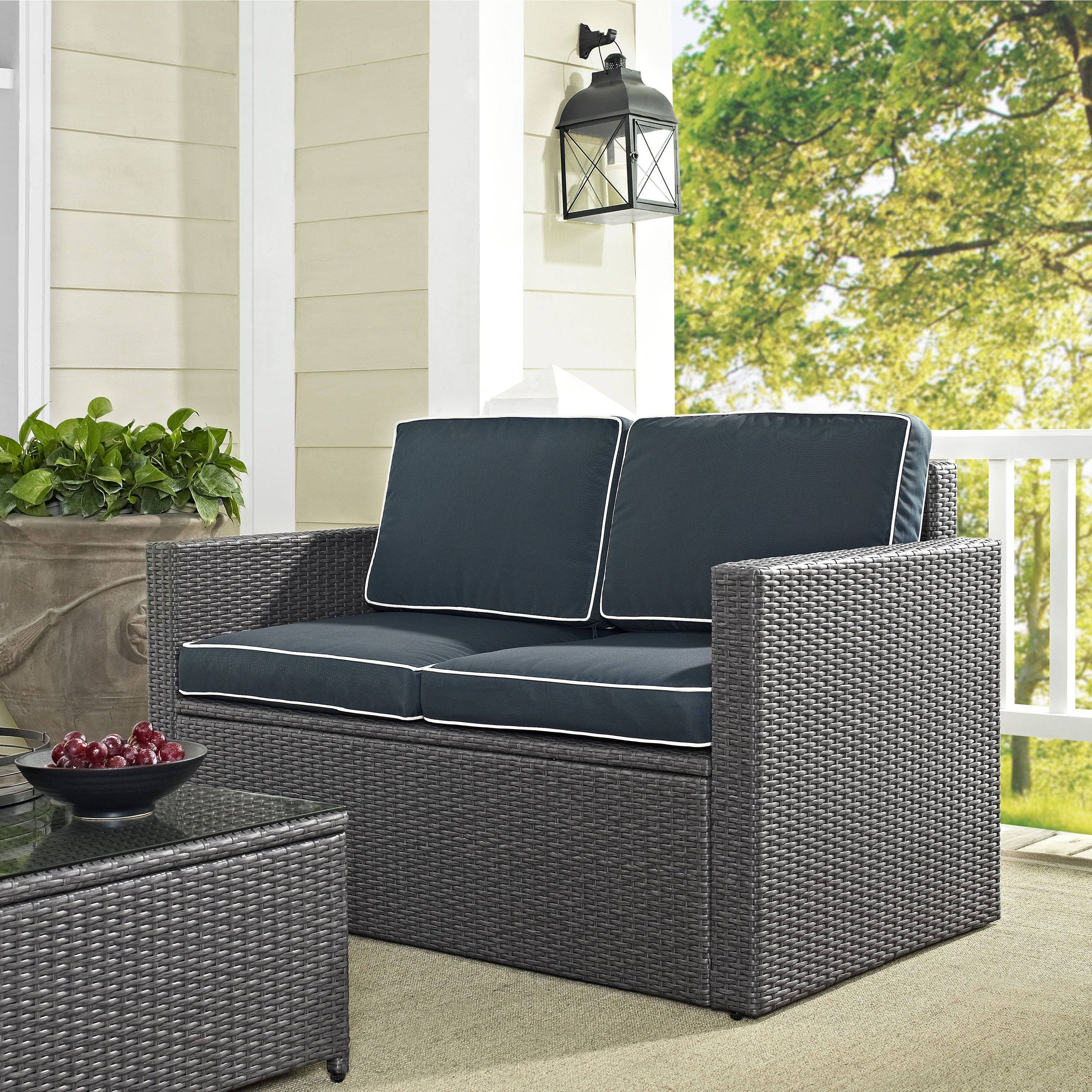 Provencher Patio Loveseats With Cushions Throughout Most Current Palm Harbor Outdoor Loveseat In Grey Wicker With Navy (View 13 of 20)