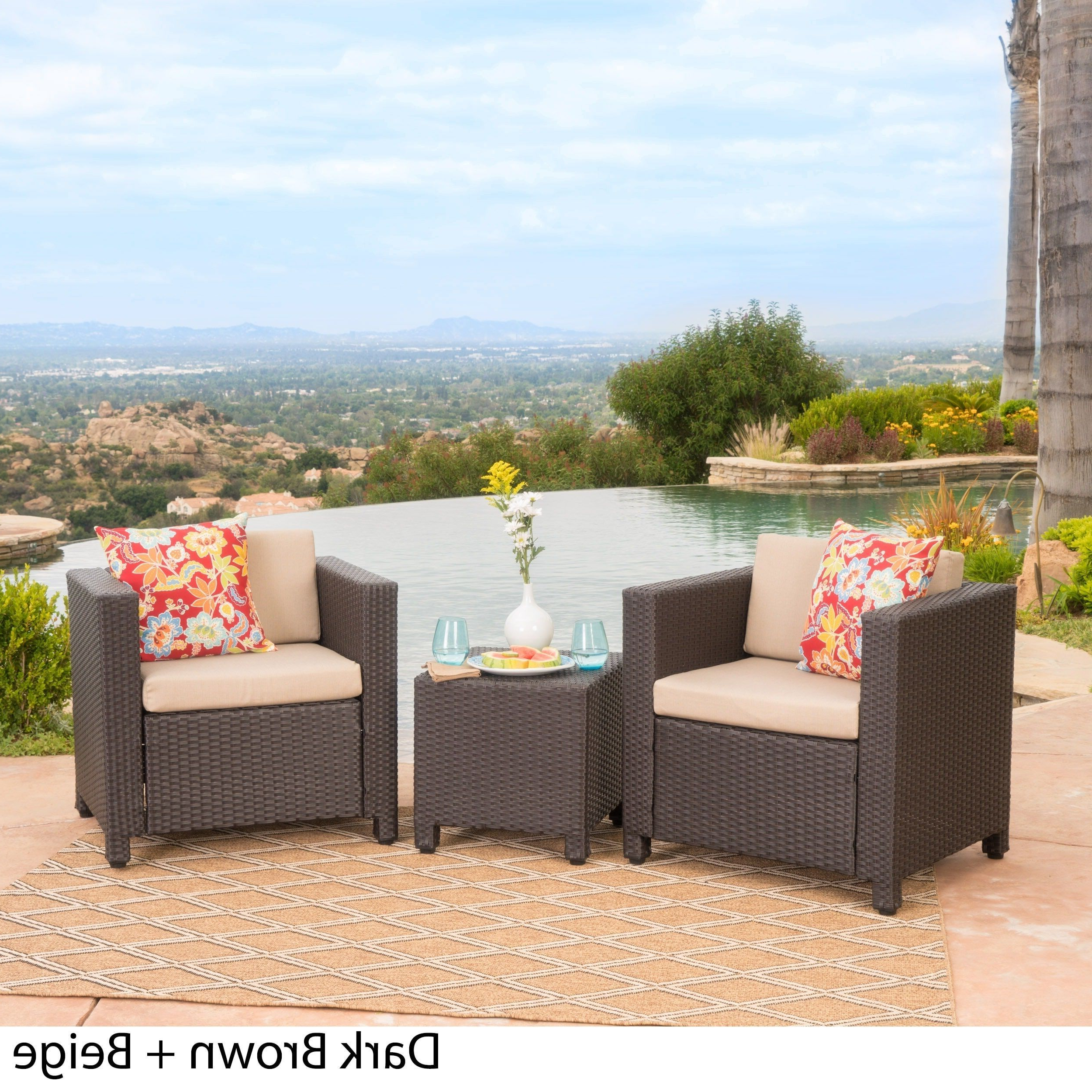 Puerta Outdoor 3 Piece Wicker Seating Set With Cushions For Most Popular Furst Patio Sofas With Cushion (View 16 of 20)