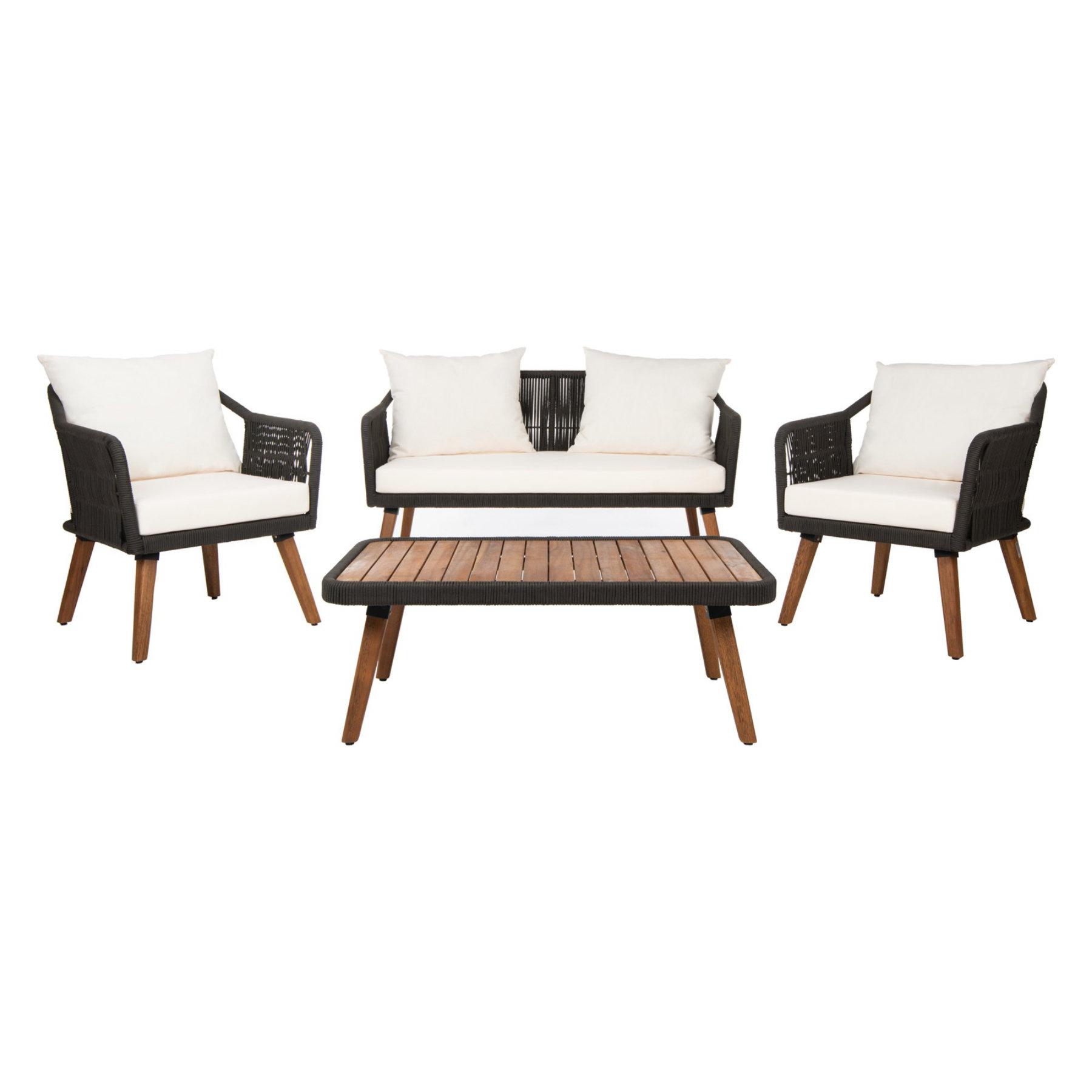 Purington Circular Patio Sectionals With Cushions Inside Newest Outdoor Safavieh Raldin Rope 4 Piece Patio Conversation Set (Gallery 18 of 20)