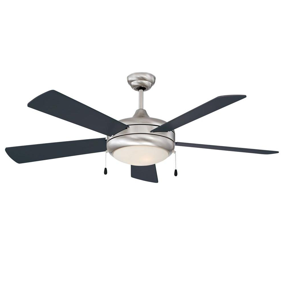 Radionic Hi Tech Neptune 52 In. Stainless Steel Ceiling Fan With Light Kit And 5 Blades Intended For Most Popular 5 Blade Ceiling Fans (Gallery 15 of 20)