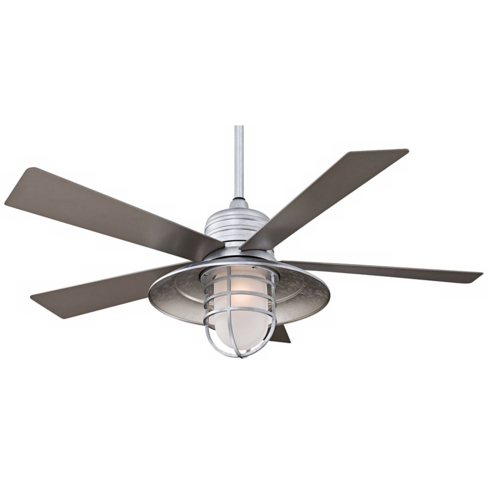 "Rainman 5 Blade Outdoor Ceiling Fans Intended For Popular 54"" Minka Aire Rainman Galvanized Ceiling Fan – Style (View 5 of 20)"