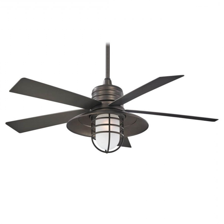Rainman 5 Blade Outdoor Ceiling Fans Regarding Most Recent Rainman 1 Light 54 Inch Outdoor Ceiling Fan In Smoked Iron With 5 Smoked  Iron Blade And Smoked Iron Glass Shade (View 14 of 20)