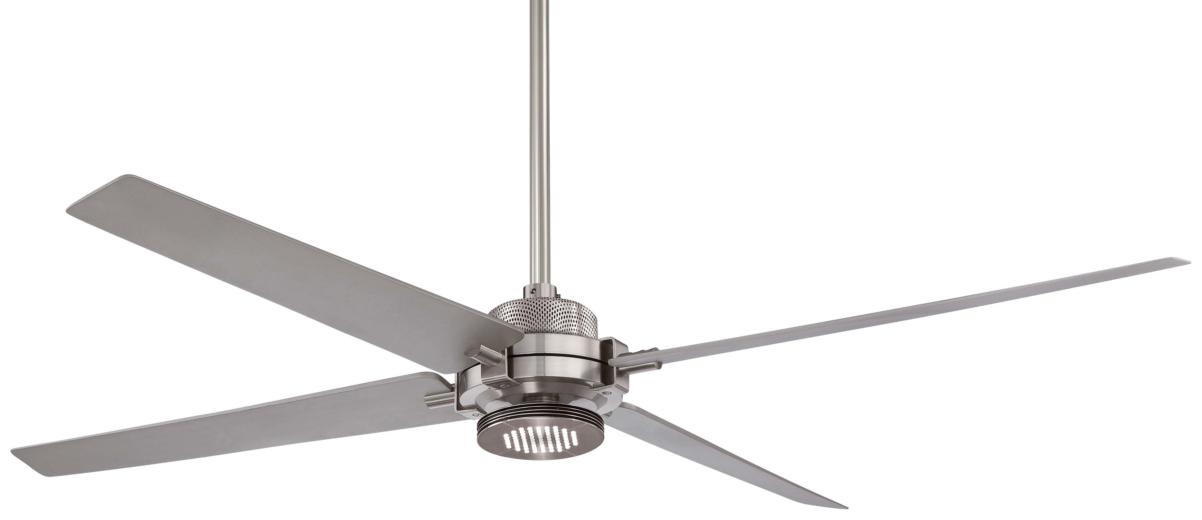 "Raptor 5 Blade Ceiling Fans With Most Recently Released 60"" Spectre 4 Blade Led Ceiling Fan With Remote, Light Kit Included (View 18 of 20)"