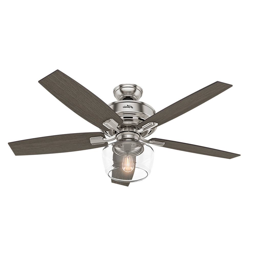 "Ratcliffe 5 Blade Led Ceiling Fans Pertaining To Most Recent 52"" Bennett 5 Blade Led Ceiling Fan With Remote, Light Kit Included (View 16 of 20)"