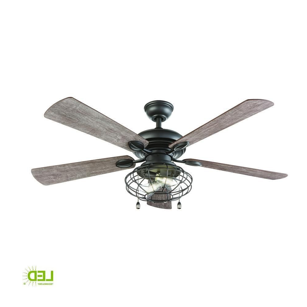 Ravello 5 Blade Led Ceiling Fans Regarding Most Current Hdc Ellard 52 In. Led Indoor Natural Iron Ceiling Fan (Gallery 11 of 20)