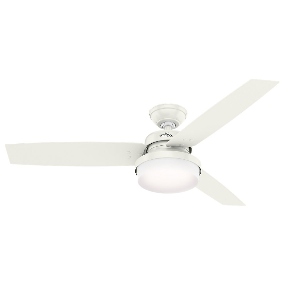 """Recent 52"""" Sentinel 3 Blade Led Ceiling Fan With Remote, Light Kit Included Throughout Sentinel 3 Blade Led Ceiling Fans With Remote (View 11 of 20)"""