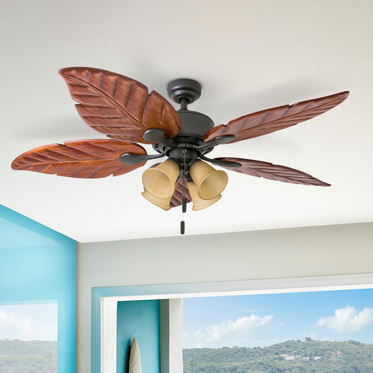 "Recent Caribbean Breeze 5 Blade Ceiling Fans Inside 52"" Mcbride Tropical 5 Blade Ceiling Fan (View 18 of 20)"