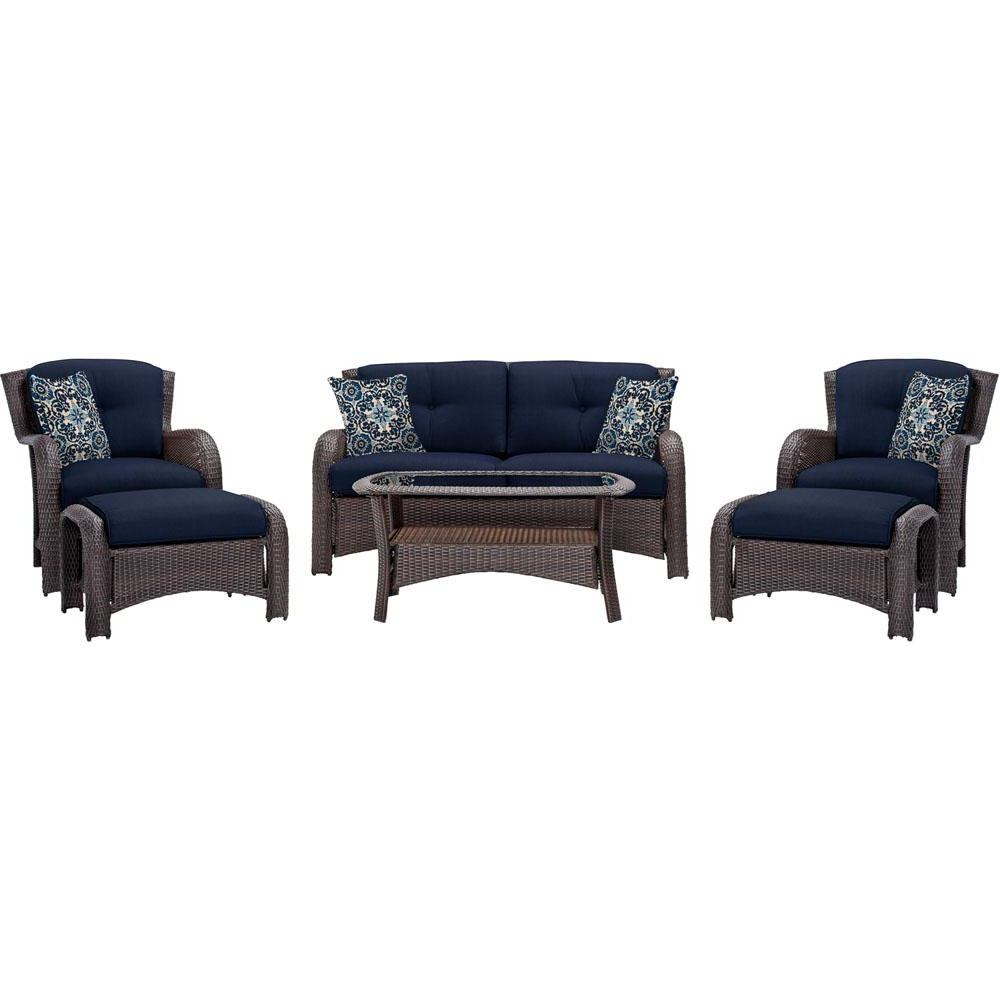 Recent Corolla Aged Barrel Steel 6 Piece All Weather Wicker Patio Conversation Set  With Navy Cushions Within Ellison Patio Sectionals With Cushions (View 19 of 20)