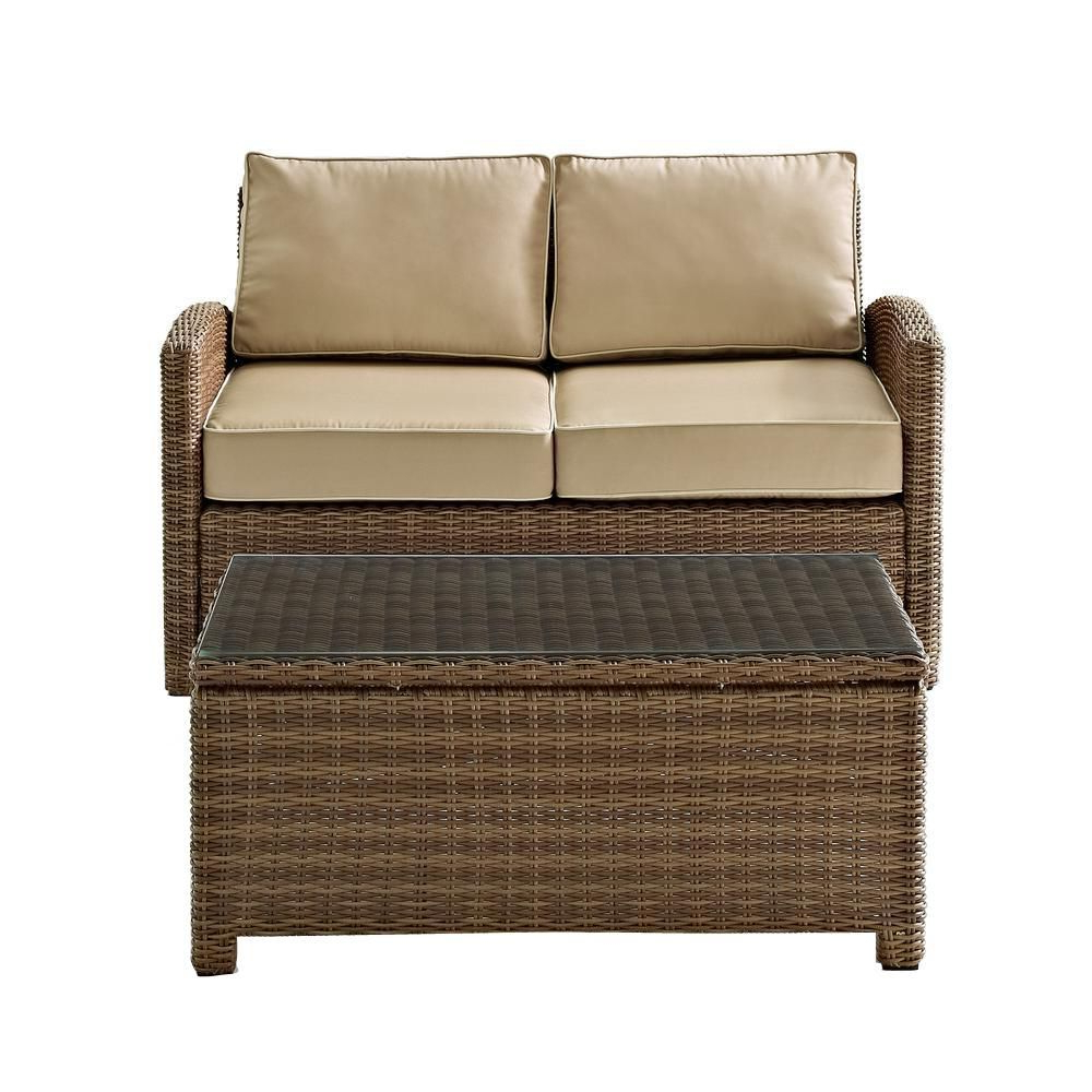 Recent Crosley Bradenton 2 Piece Wicker Outdoor Seating Set With Pertaining To Northridge Loveseats With Cushions (View 11 of 20)