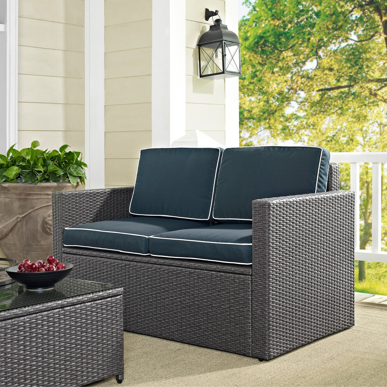 Recent Crosley Furniture Palm Harbor All Weather Wicker Outdoor In Mendelson Loveseats With Cushion (View 13 of 20)