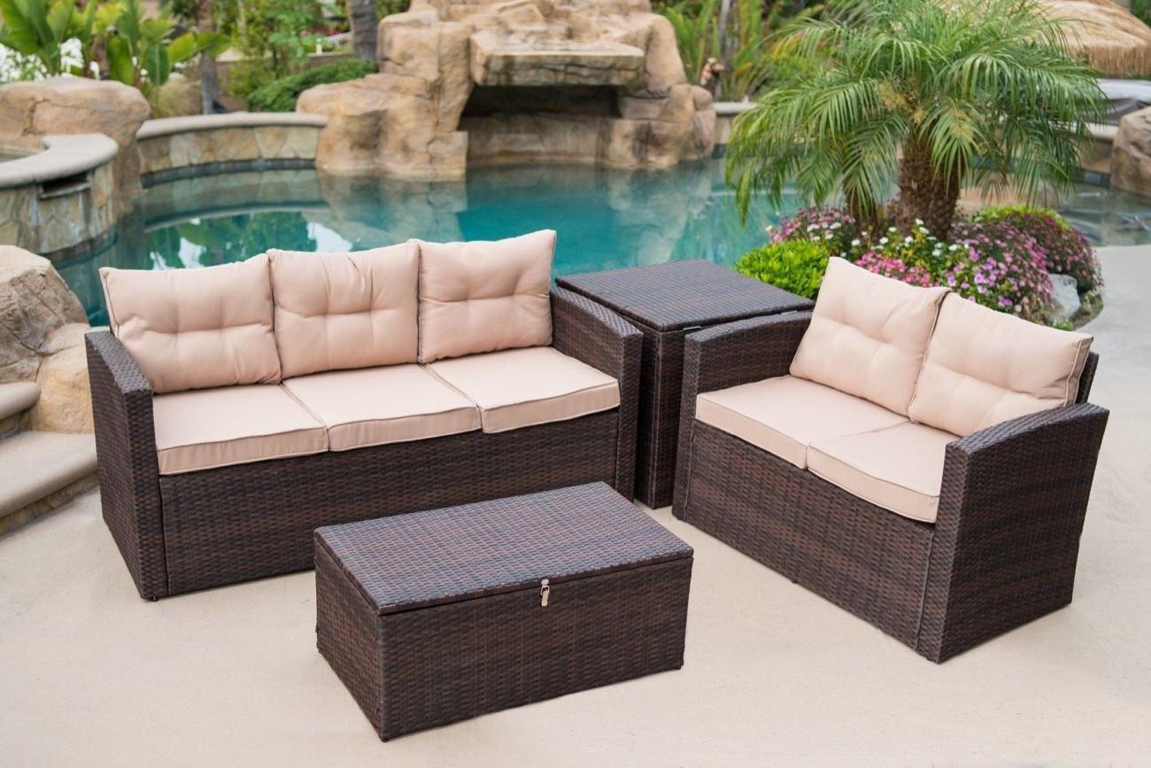 Recent Fleur De Lis Living Rowley Patio Sofa Set With Cushions Regarding Rowley Patio Sofas Set With Cushions (View 12 of 20)