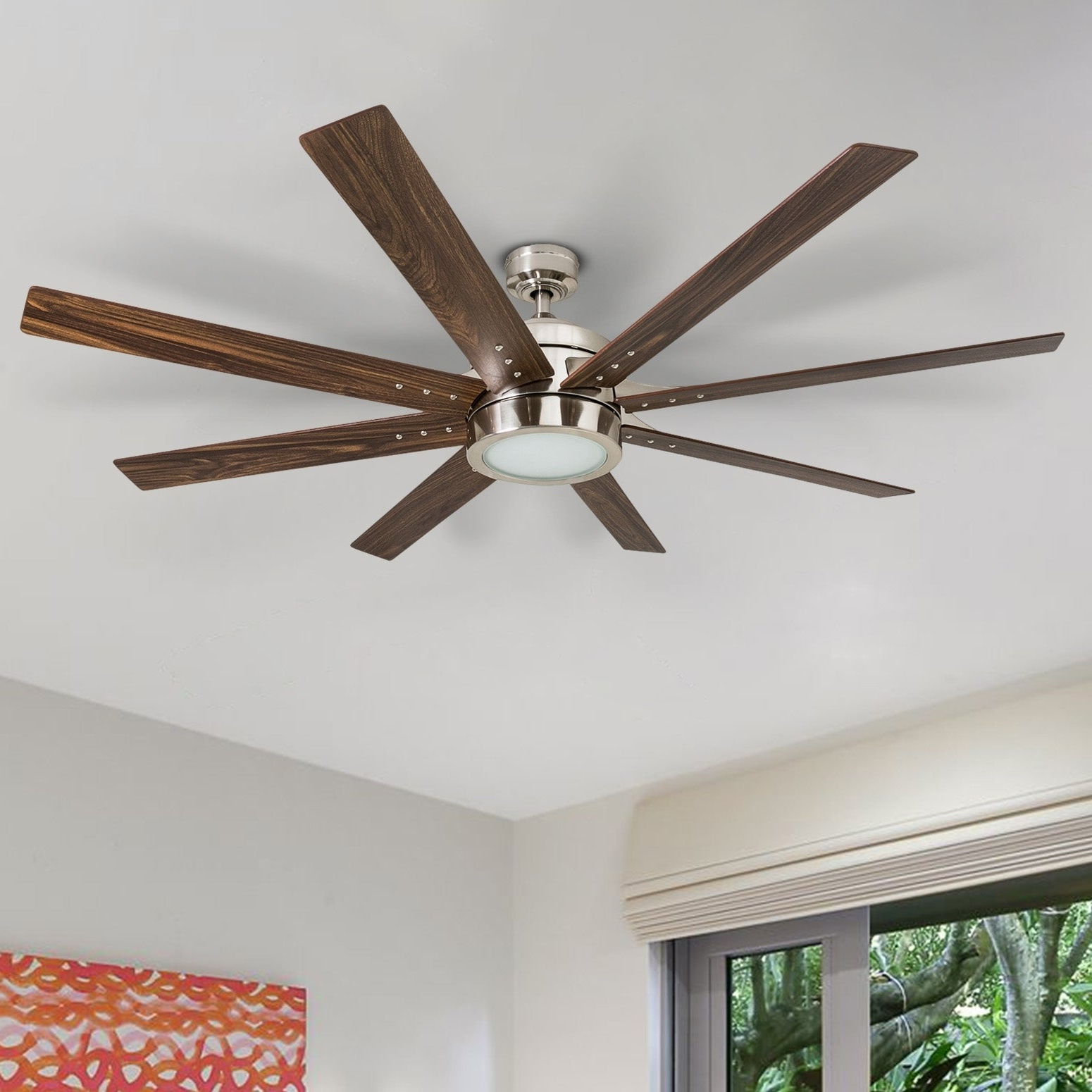 "Recent Honeywell Xerxes 62"" Brushed Nickel Led Remote Control Ceiling Fan, 8 Blade, Integrated Light With Levon 8 Blade Ceiling Fans (View 9 of 20)"