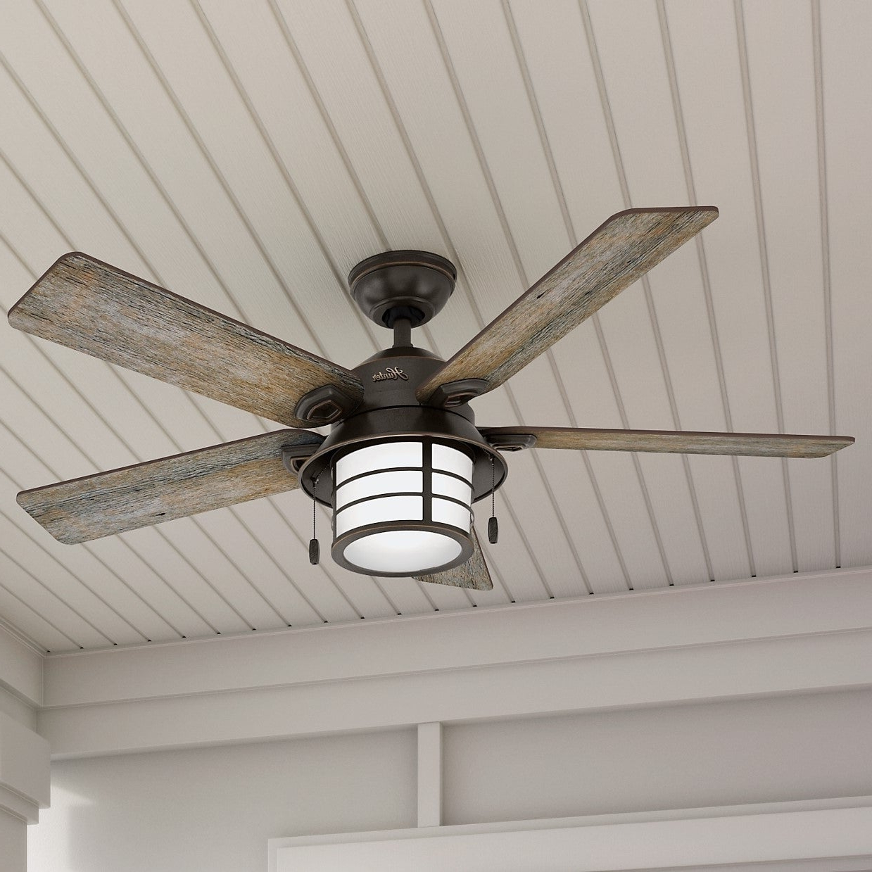 "Recent Hunter Fan 54"" Key Biscayne Onyx Bengal W / 5 Barnwood / Oak Rev Blds – Bronze Regarding Key Biscayne 5 Blade Outdoor Ceiling Fans (View 9 of 20)"