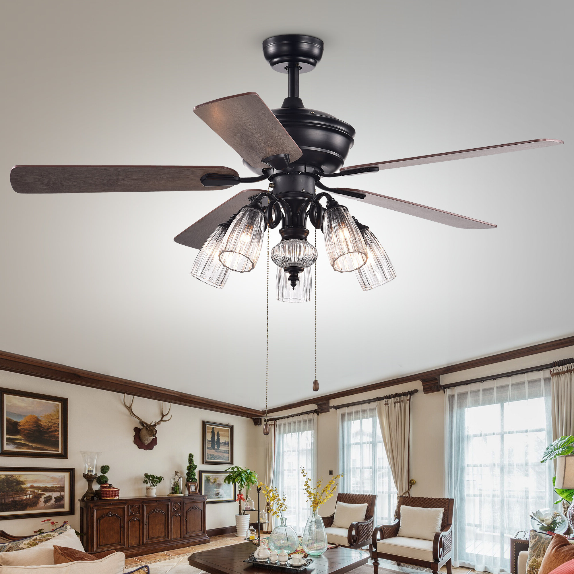 Recent Light Kit Included Charlton Home Ceiling Fans You'll Love In Regarding Crumbley 5 Blade Ceiling Fans (View 10 of 20)