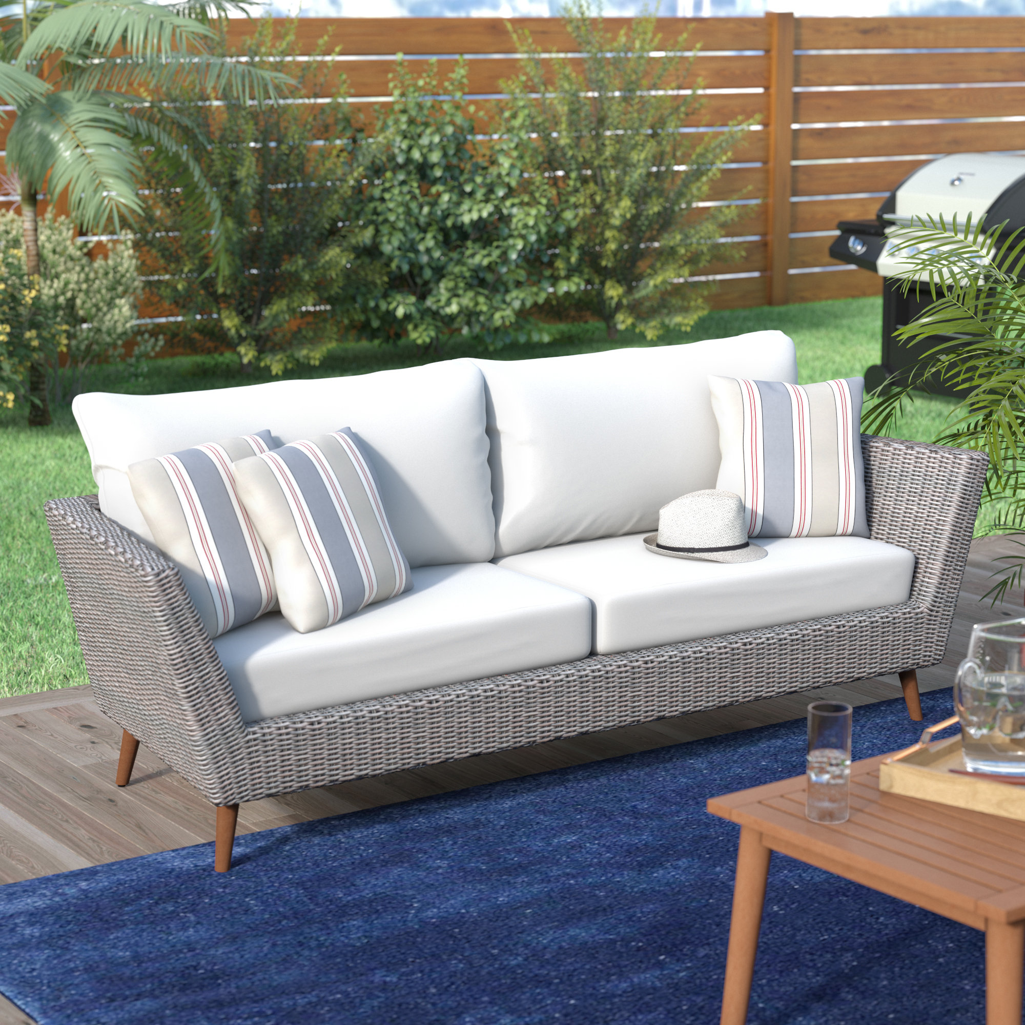 Featured Photo of Keever Patio Sofas with Sunbrella Cushions