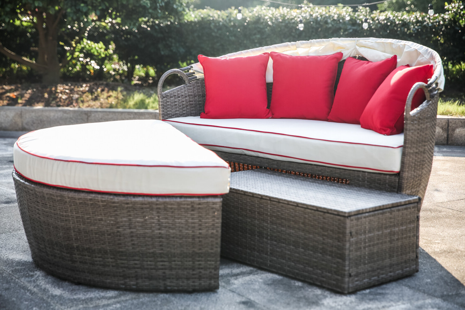 Recent Olu Bamboo Large Round Patio Daybeds With Cushions With Fansler Patio Daybed With Cushions (View 13 of 20)