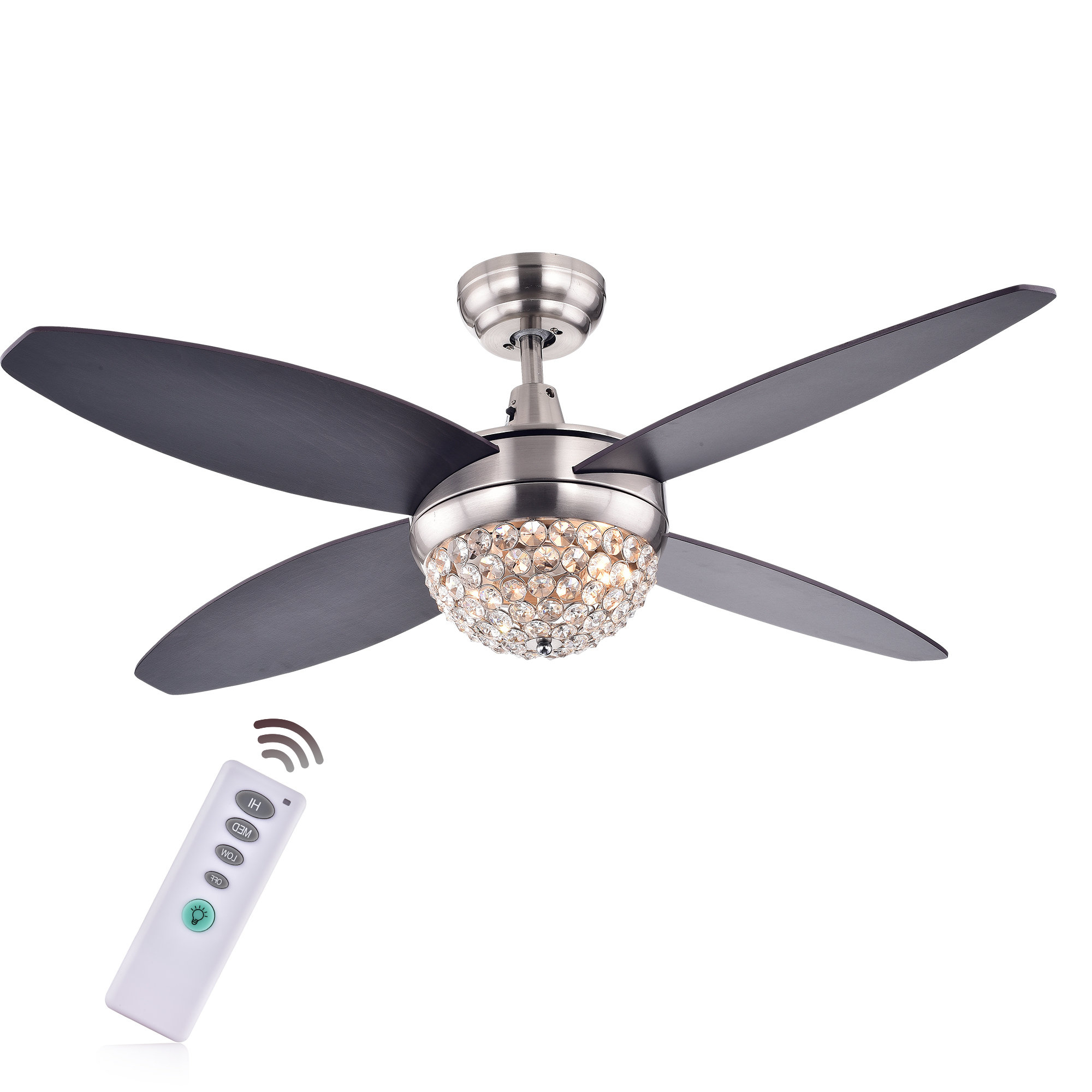 """Recent Stewardson 4 Blade Ceiling Fans With 52"""" Aurora 2 Light Wood Crystal 4 Blade Ceiling Fan With Remote (View 12 of 20)"""