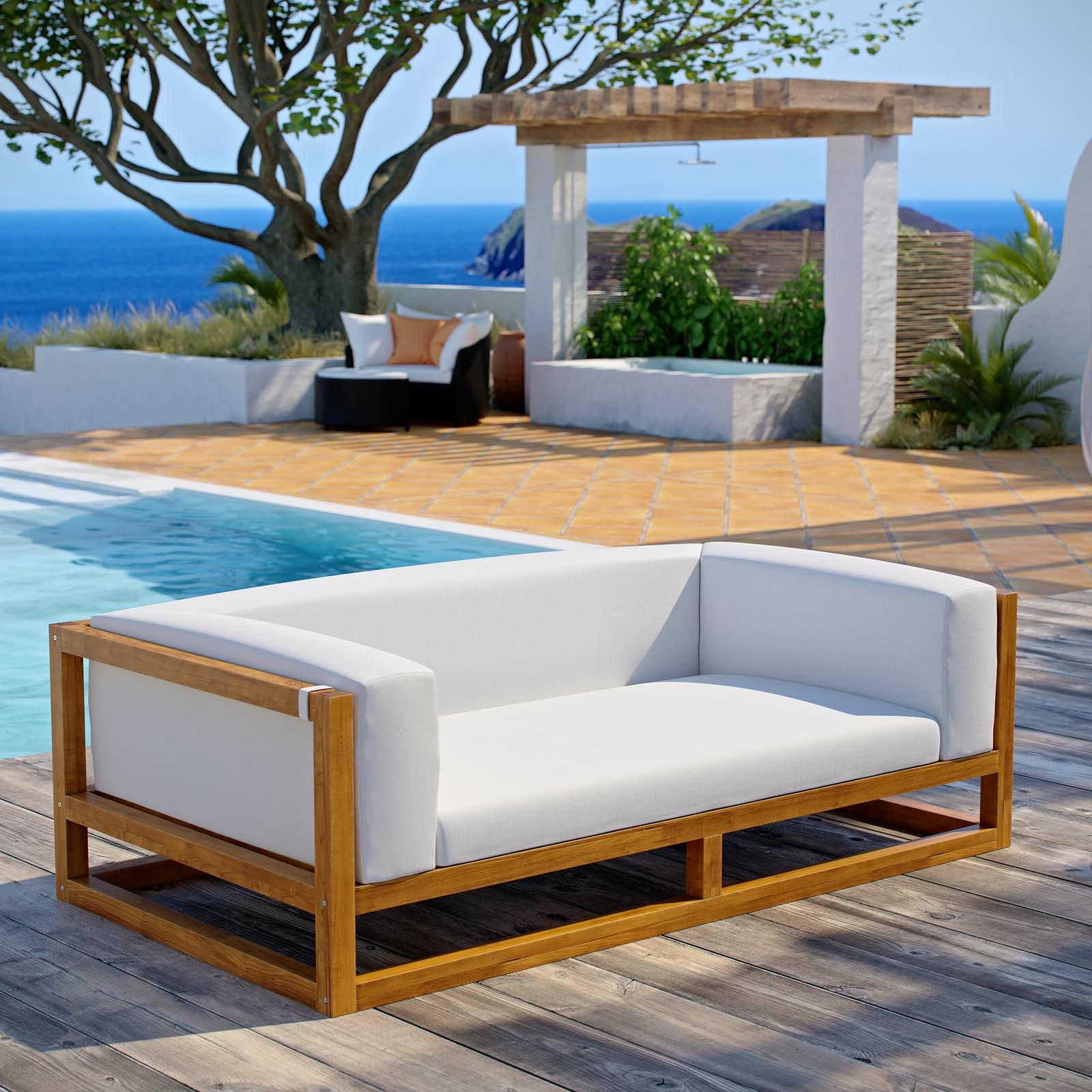 Ringler Premium Grade A Teak Patio Sofa With Cushions Intended For Widely Used Ellanti Teak Patio Daybeds With Cushions (View 17 of 20)