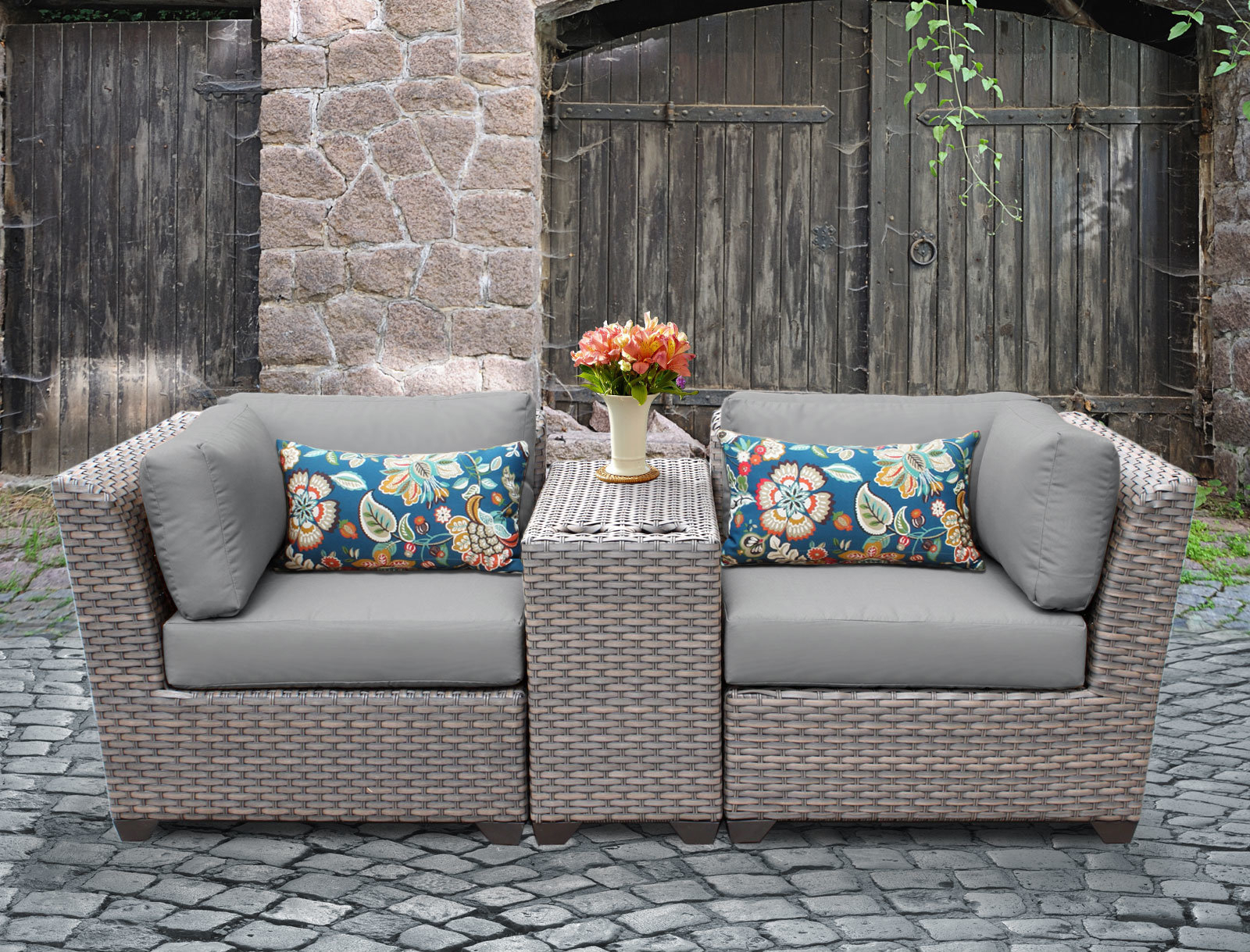 Rosecliff Heights Meeks 3 Piece Rattan Conversation Set With Cushions For Most Recently Released Meeks Patio Sofas With Cushions (Gallery 20 of 20)