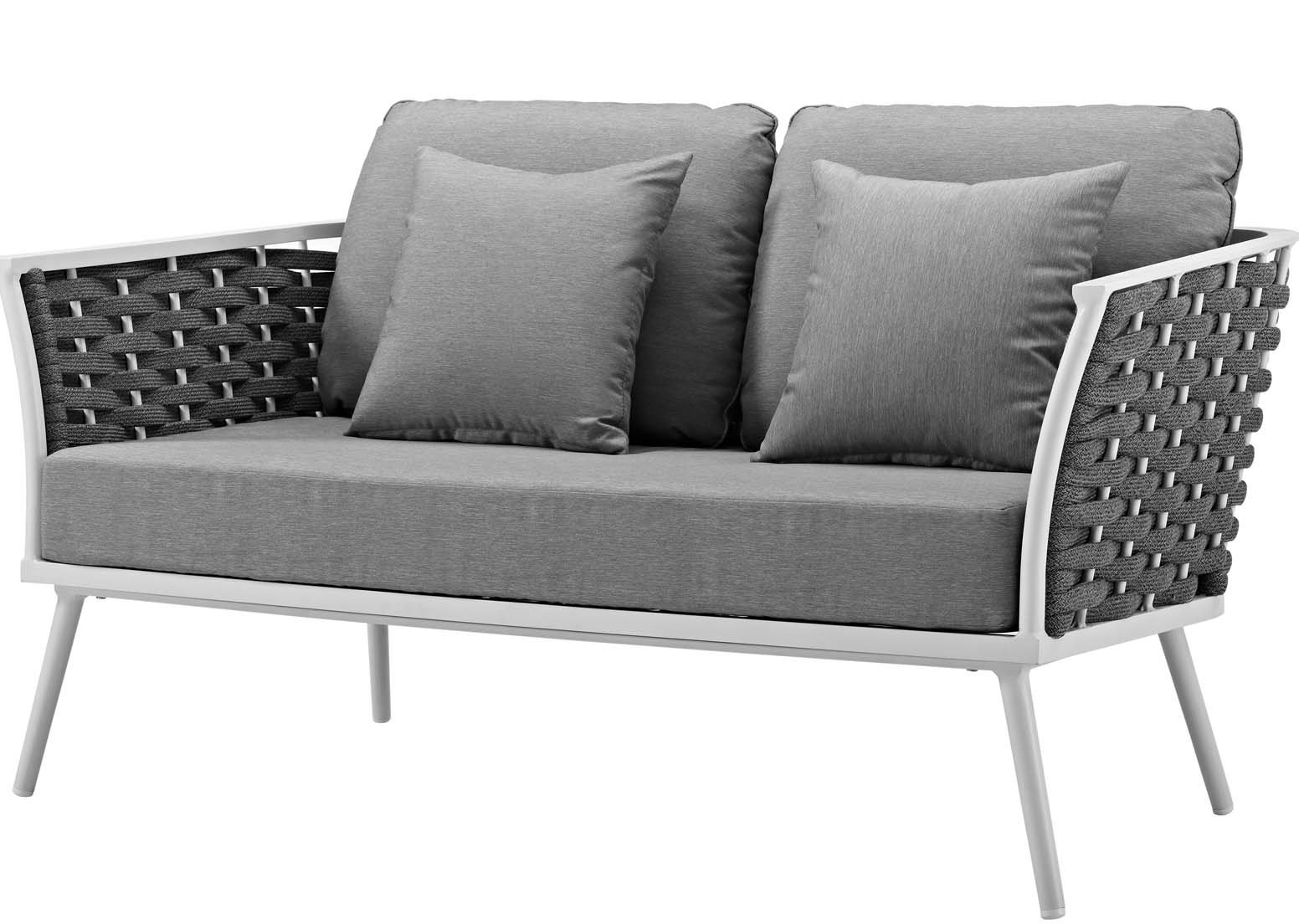 Rossville Outdoor Loveseat With Cushions With Regard To 2020 Bristol Loveseats With Cushions (View 16 of 20)