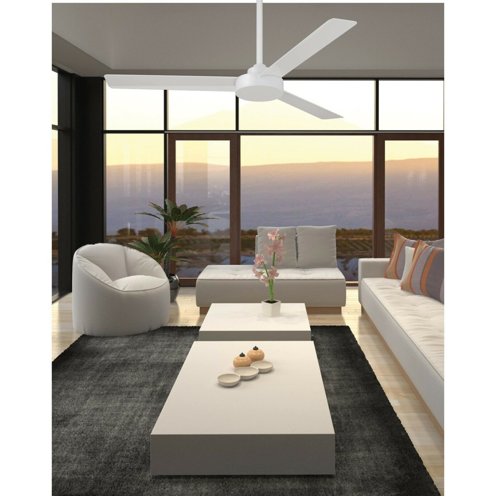 """Roto 3 Blade Ceiling Fans With Fashionable Details About Ceiling Fan 52'' With 3 Blade 6"""" Downrod Flat Aluminum  Construction White Finish (View 13 of 20)"""