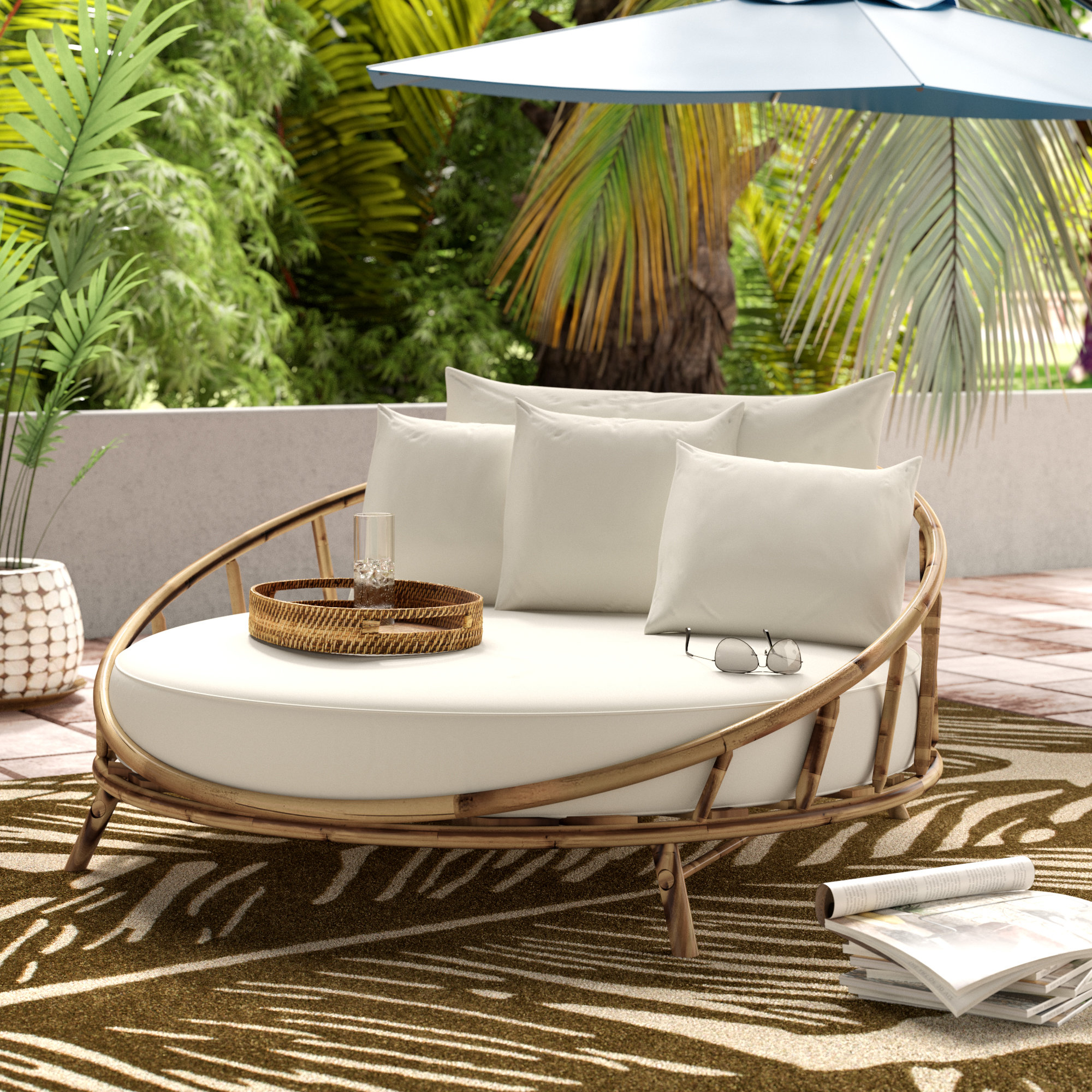 Roush Teak Patio Daybeds With Cushions In Most Current Olu Bamboo Large Round Patio Daybed With Cushions (View 14 of 20)