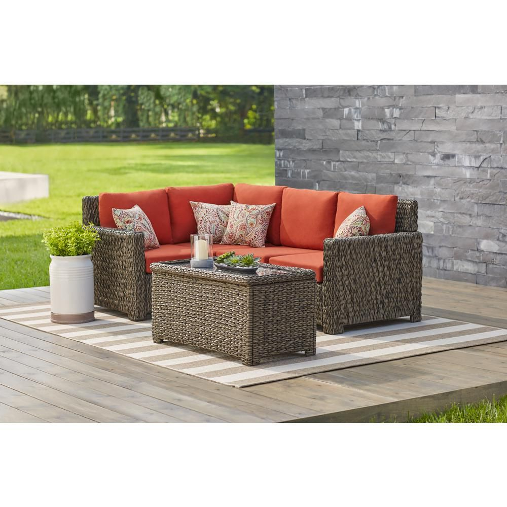 Rowley Patio Sofas Set With Cushions In Recent Hampton Bay Laguna Point 5 Piece Brown All Weather Wicker (View 14 of 20)