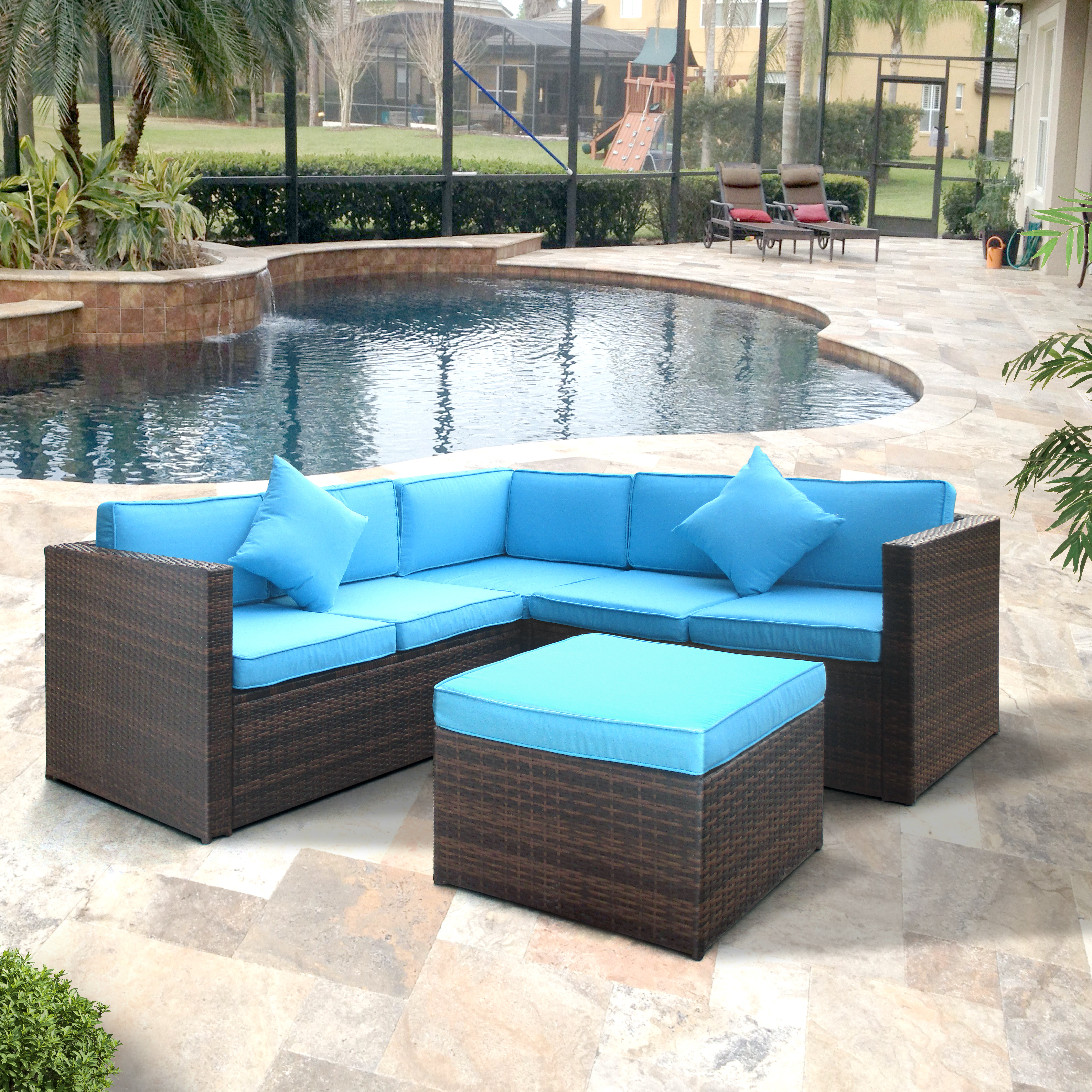 Rowley Patio Sofas Set With Cushions Regarding Most Recent Lilith Patio Sectional With Cushions (View 11 of 20)