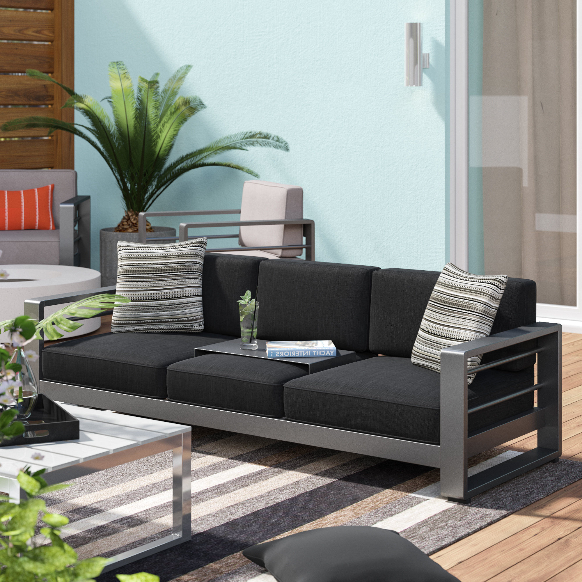Royalston Patio Sofa With Cushions Inside Well Liked Rowley Patio Sofas Set With Cushions (View 17 of 20)