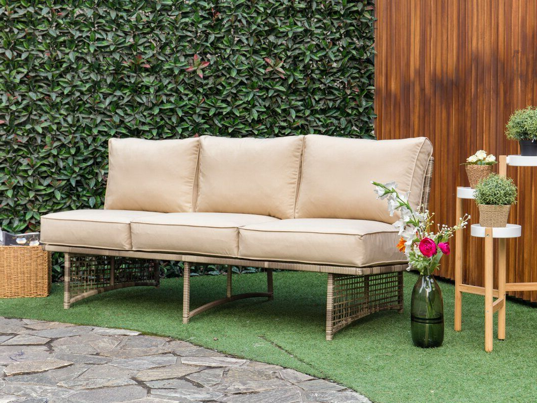 Royalston Patio Sofas With Cushions For Most Recently Released Dakota Outdoor Rattan Patio Sofa With Cushion (View 16 of 20)