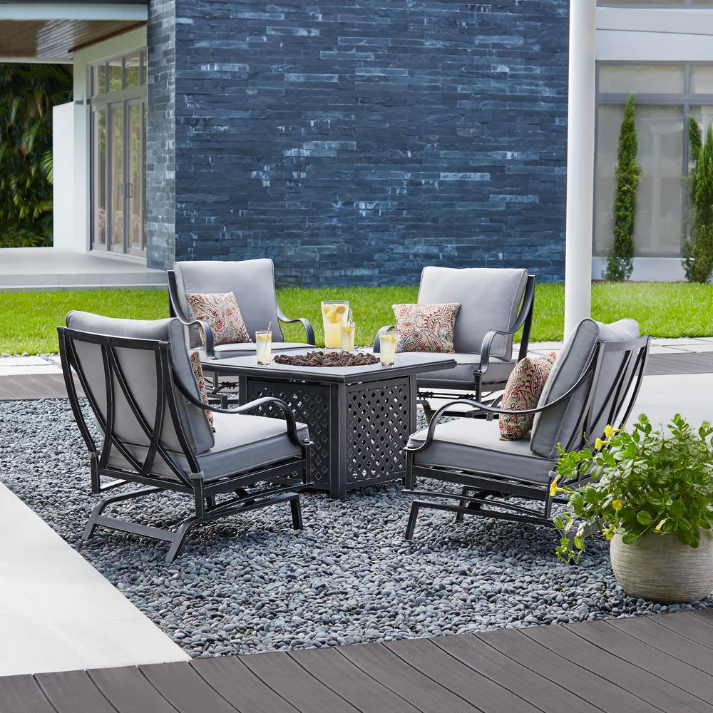 Royalston Patio Sofas With Cushions Throughout Most Up To Date Hampton Bay Highland Point 5 Piece Aluminum And Steel Patio Fire Pit Conversation Set With Gray Cushions (View 19 of 20)