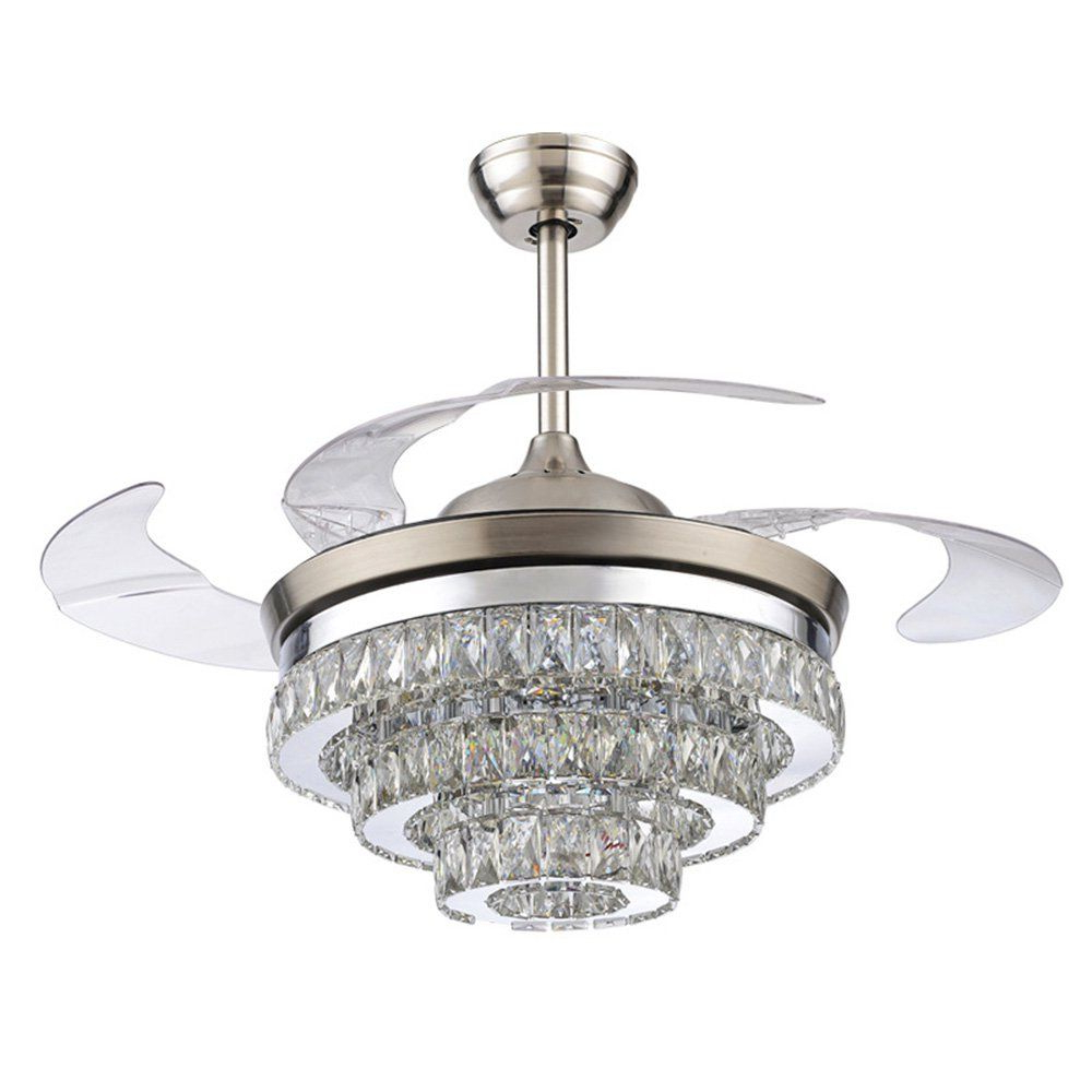 Rs Lighting 42 Inch Ceiling Fan European Crystal Retractable In Current Servantes Retractable 4 Blade Ceiling Fans With Remote (View 14 of 20)