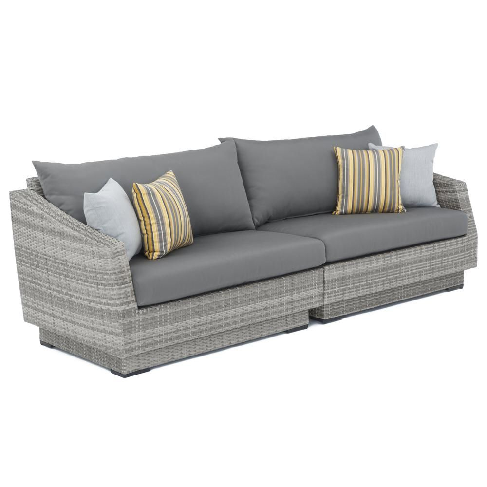 Rst Brands Cannes 2 Piece All Weather Wicker Patio Sofa With With Well Known Castelli Loveseats With Cushions (View 16 of 20)