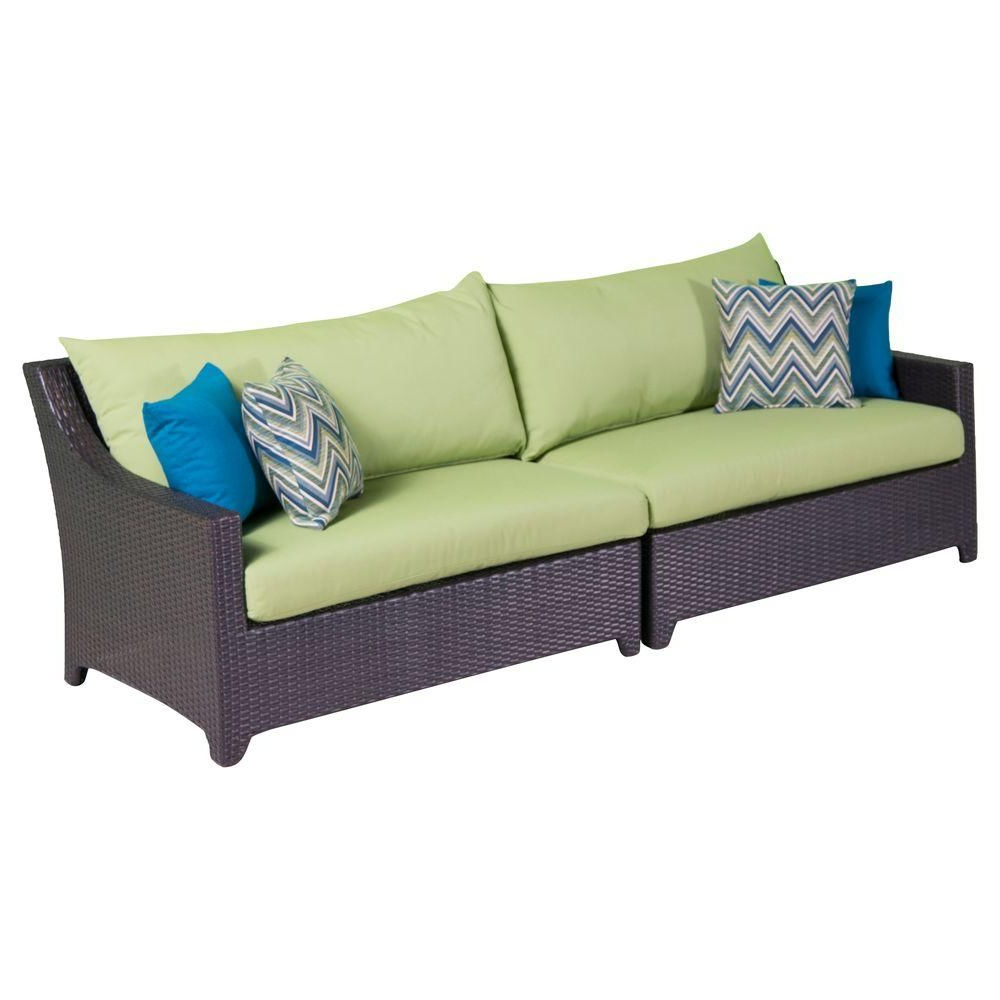 Rst Brands Deco Patio Sofa With Ginkgo Green Cushions Inside 2020 Stapleton Wicker Resin Patio Sofas With Cushions (Gallery 13 of 20)