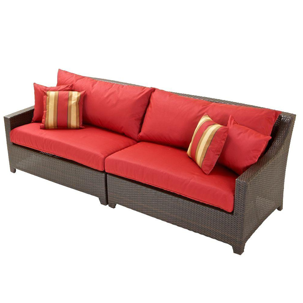 Rst Brands Deco Patio Sofa With Ginkgo Green Cushions Intended For Preferred Patio Sofas With Cushions (View 10 of 20)
