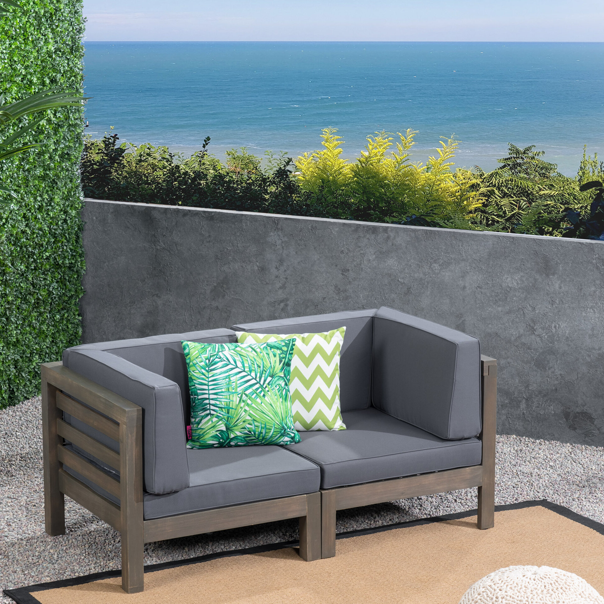 Seaham Loveseat With Cushions Within Widely Used Bullock Outdoor Wooden Loveseats With Cushions (View 10 of 20)