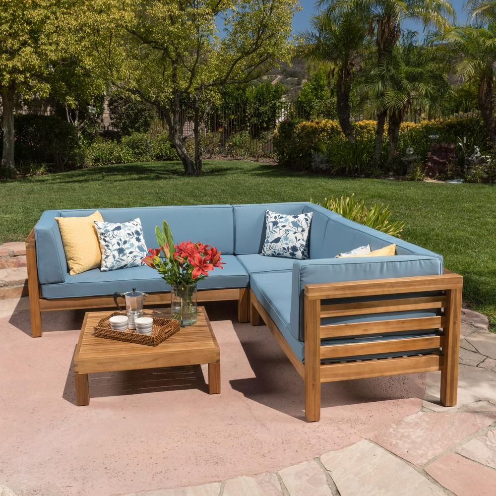 Seaham Patio Sectionals With Cushions Throughout Fashionable Noble House Oana Teak Finish 4 Piece Wood Outdoor Sectional (View 13 of 20)