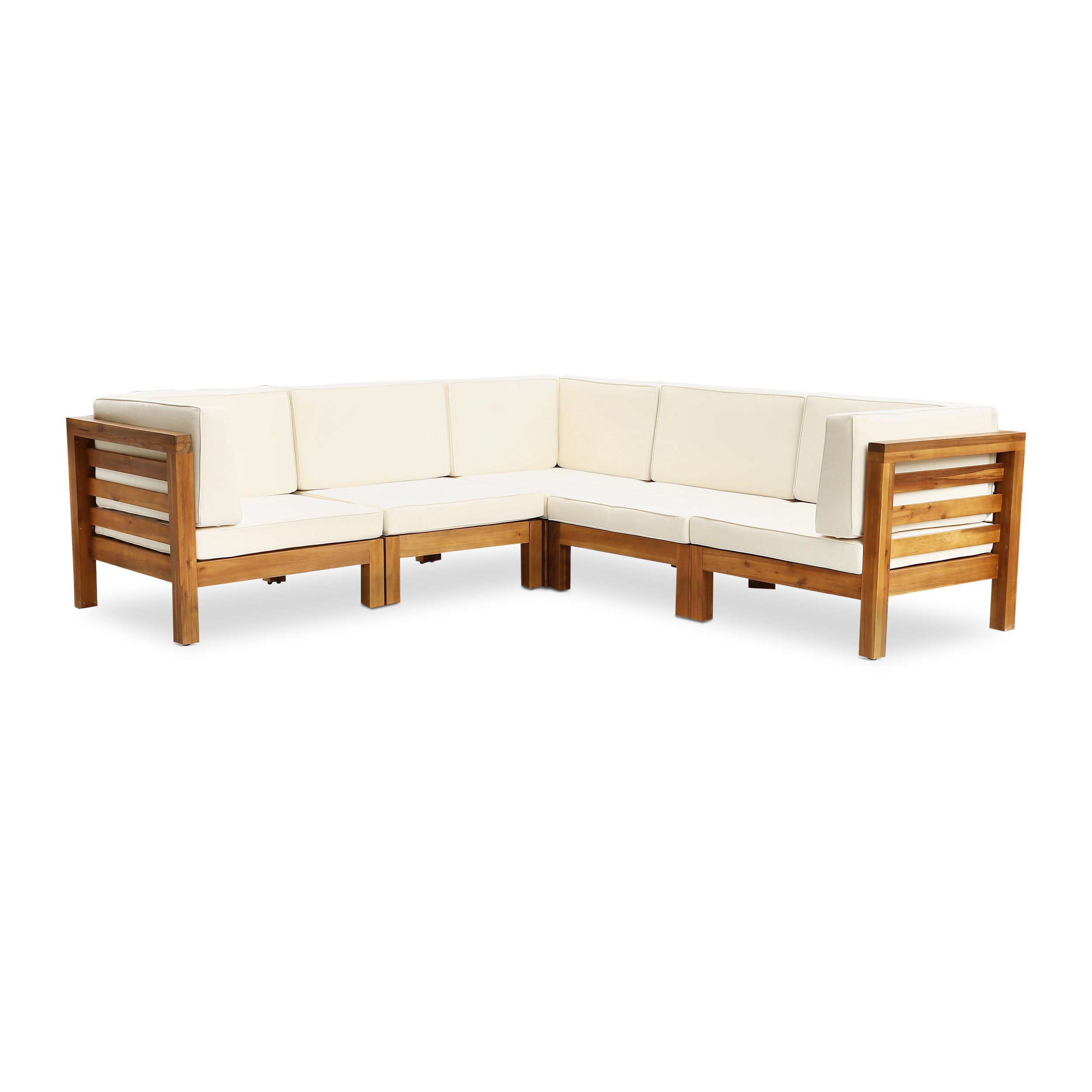 Seaham Teak Patio Sectional With Cushions With Trendy Seaham Patio Sectionals With Cushions (View 4 of 20)