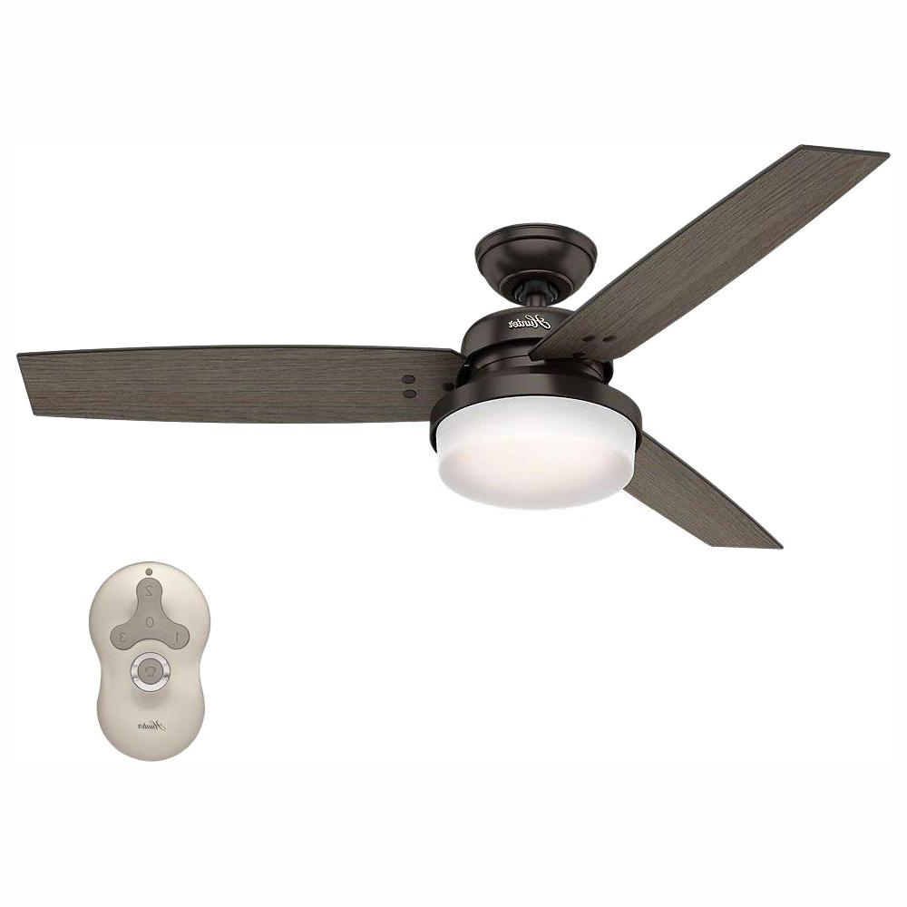 Sentinel 3 Blade Led Ceiling Fans With Remote Regarding 2020 Hunter Sentinel 52 In (View 15 of 20)