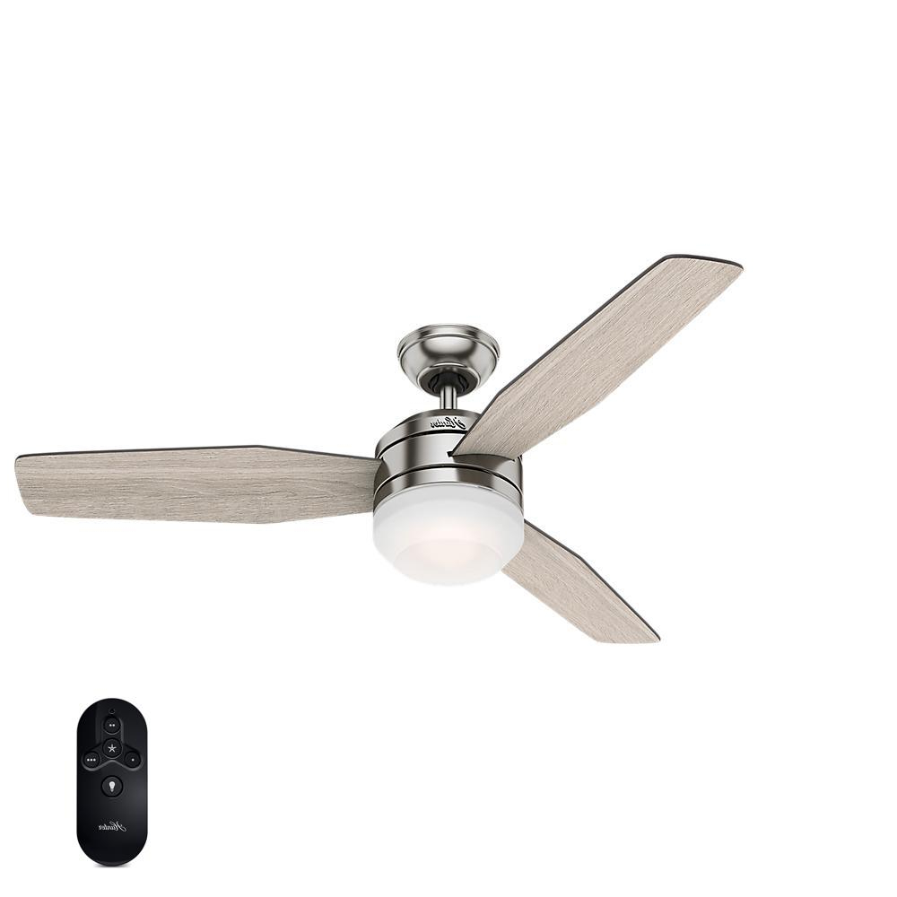 Sentinel 3 Blade Led Ceiling Fans With Remote Regarding Preferred Hunter Zilker 52 In (View 16 of 20)
