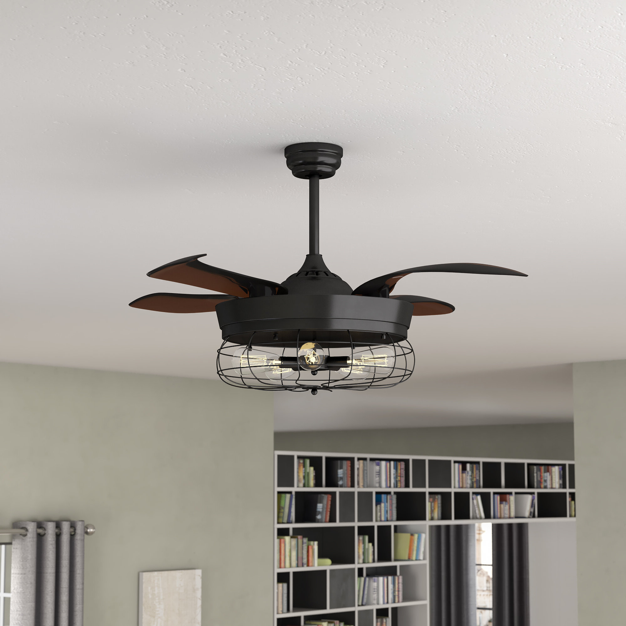 Servantes Retractable 4 Blade Ceiling Fans With Remote Throughout Popular  (View 17 of 20)