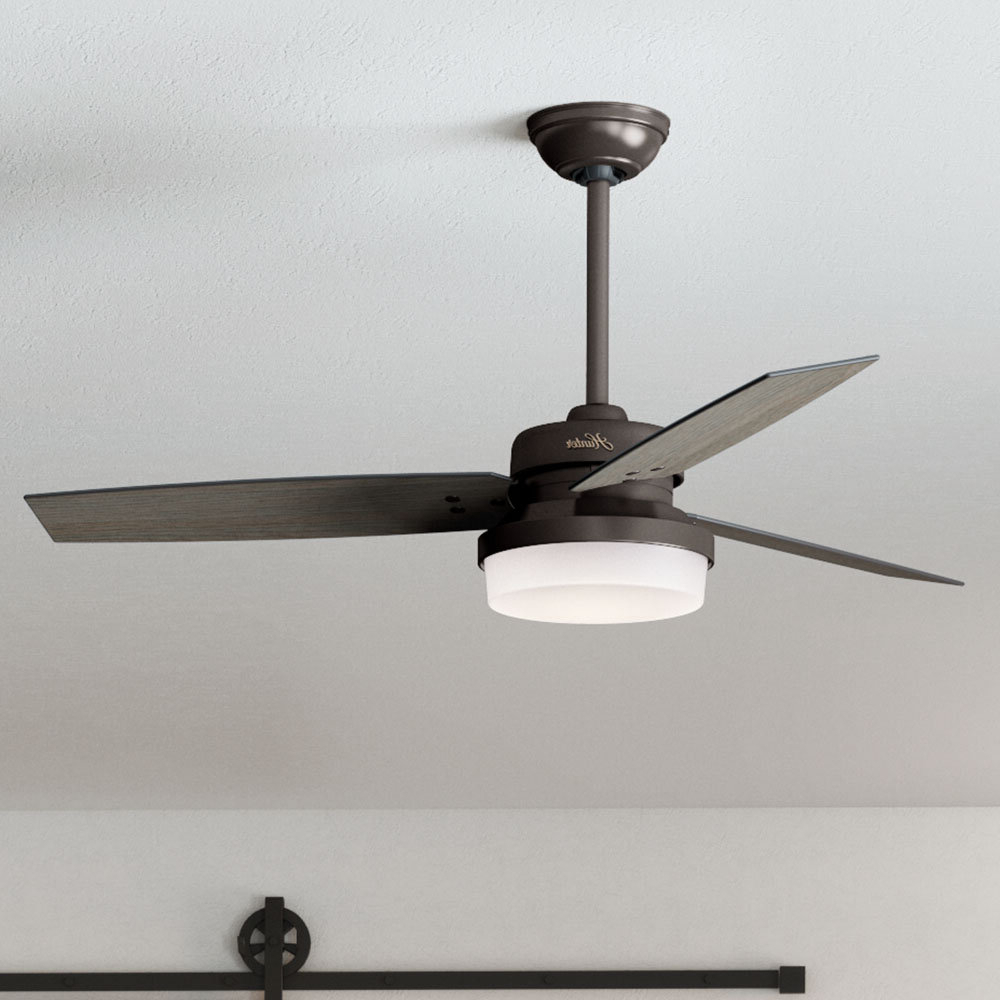 """Sherwood 3 Blade Ceiling Fans With Regard To Favorite 52"""" Sentinel 3 Blade Led Ceiling Fan With Remote, Light Kit Included (View 17 of 20)"""