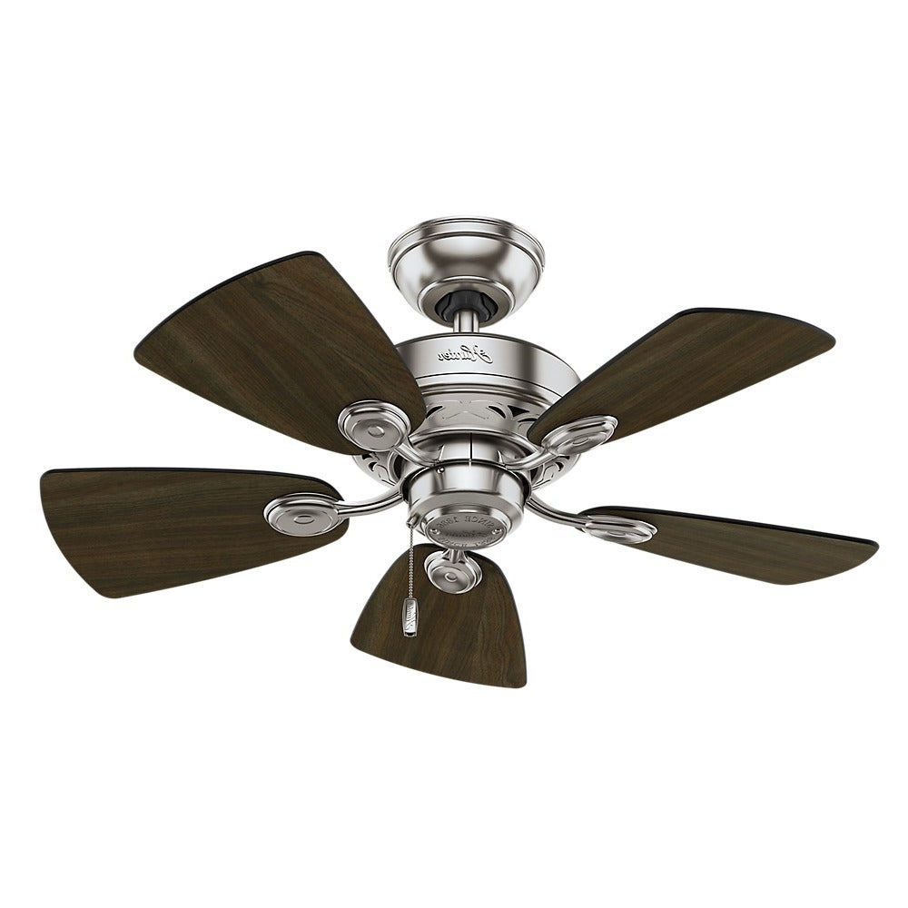 Shop Hunter Fan Watson 34 Inch Brushed Nickel With 5 Dark For Favorite Watson 5 Blade Ceiling Fans (View 6 of 20)