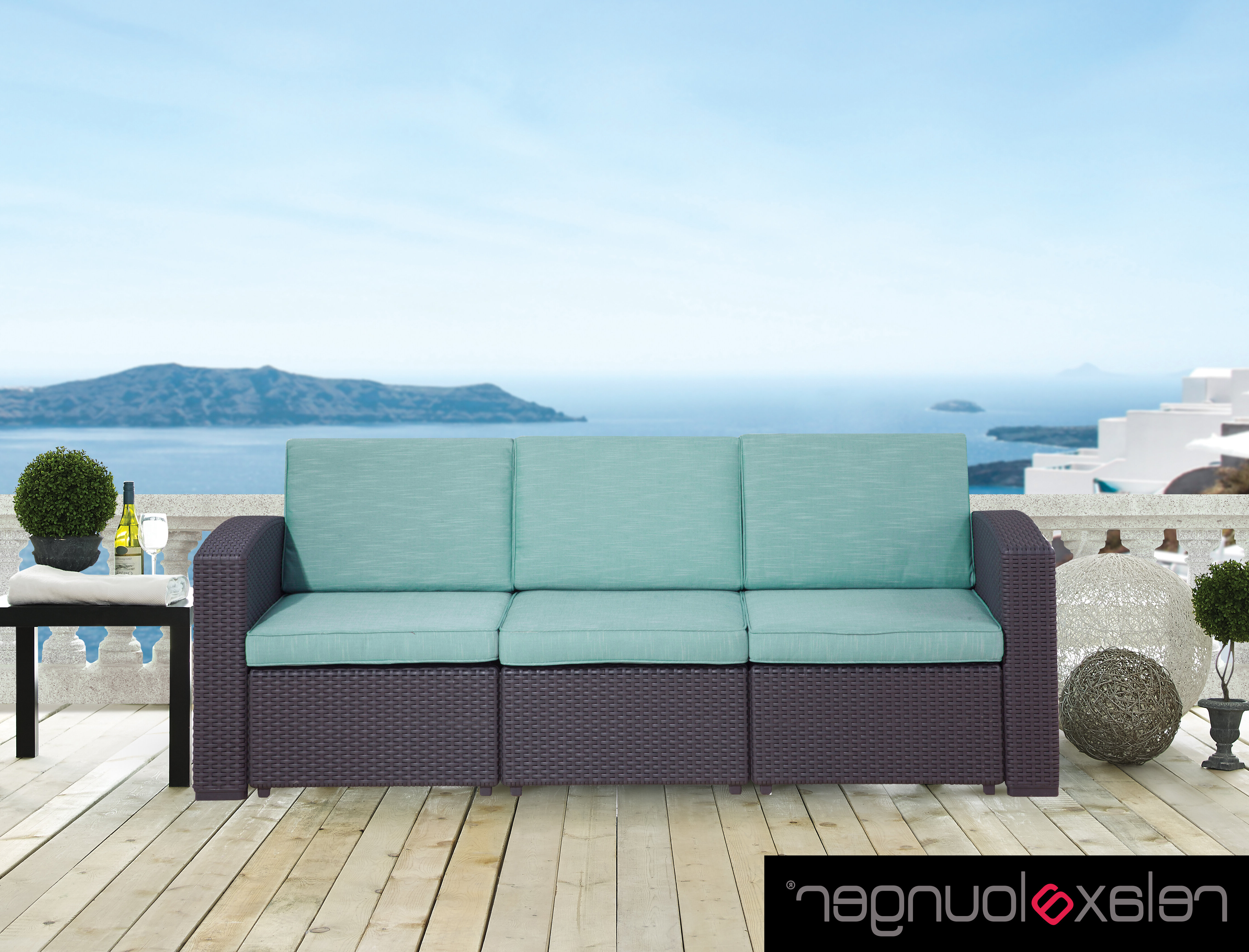 Silloth Patio Sofas With Cushions Intended For Favorite Blanchard Patio Sofa With Cushions (View 12 of 20)