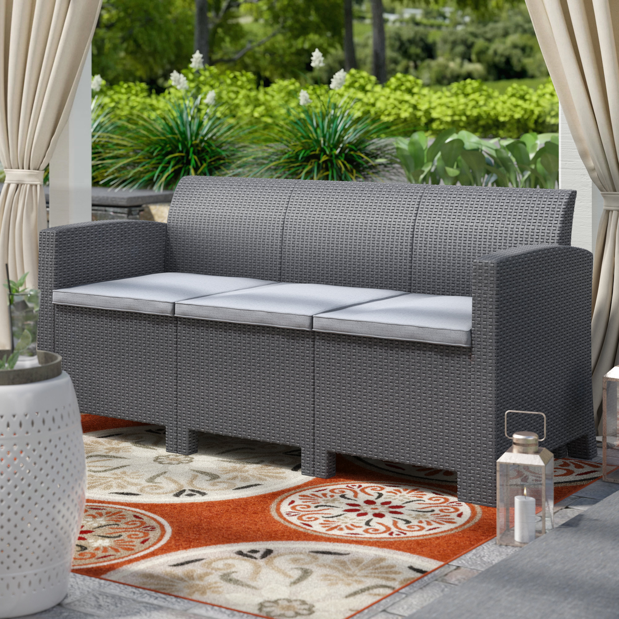 Silloth Patio Sofas With Cushions Intended For Most Recently Released Yoselin Patio Sofa With Cushions (View 13 of 20)
